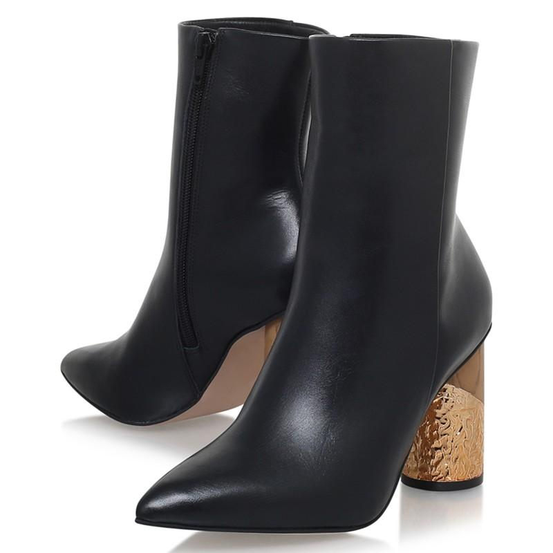 KG by Kurt Geiger Leather Raffle Pointed Toe Block Heel Ankle Boots
