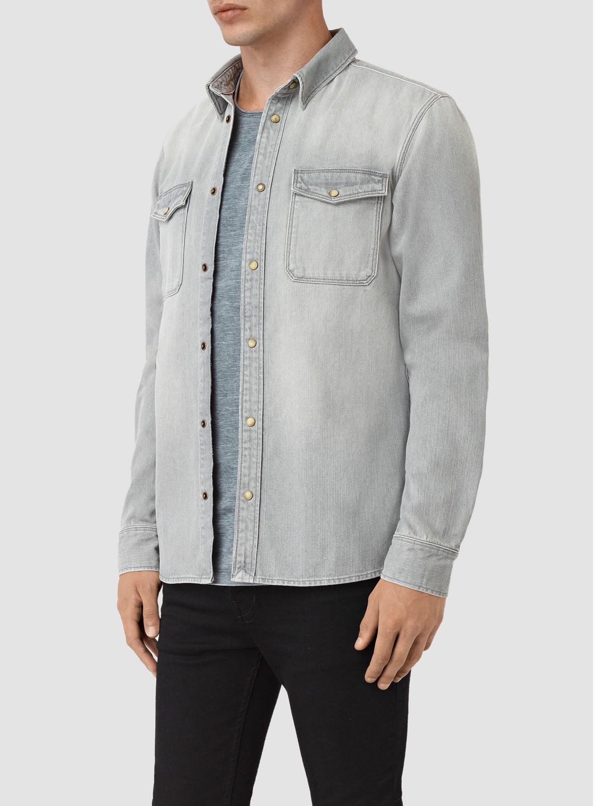 AllSaints Denim Ardno Shirt in Grey (Grey) for Men