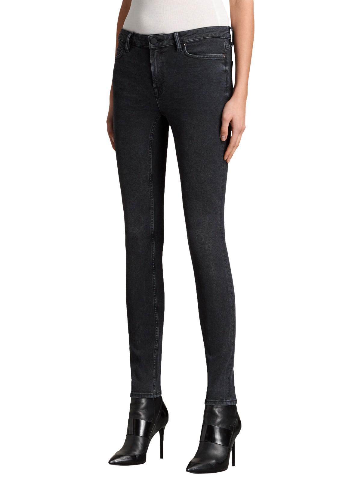 AllSaints Denim Mast Skinny Jeans in Washed Black (Black)