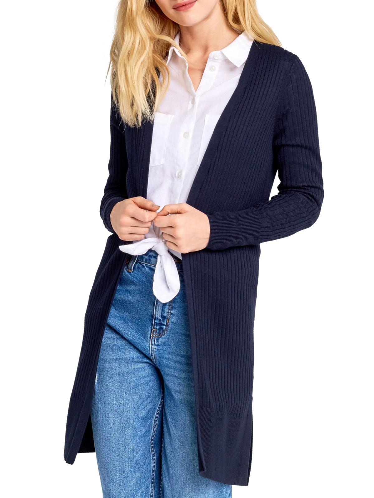 Oasis Synthetic All Over Rib Edge To Edge Cardigan in Navy (Blue)
