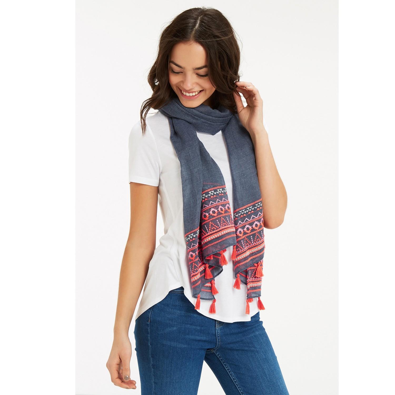 oasis tile border scarf in blue lyst