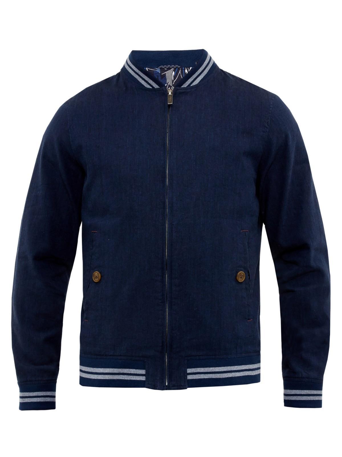 Ted Baker New York Linen Blend Bomber Jacket in Navy (Blue) for Men