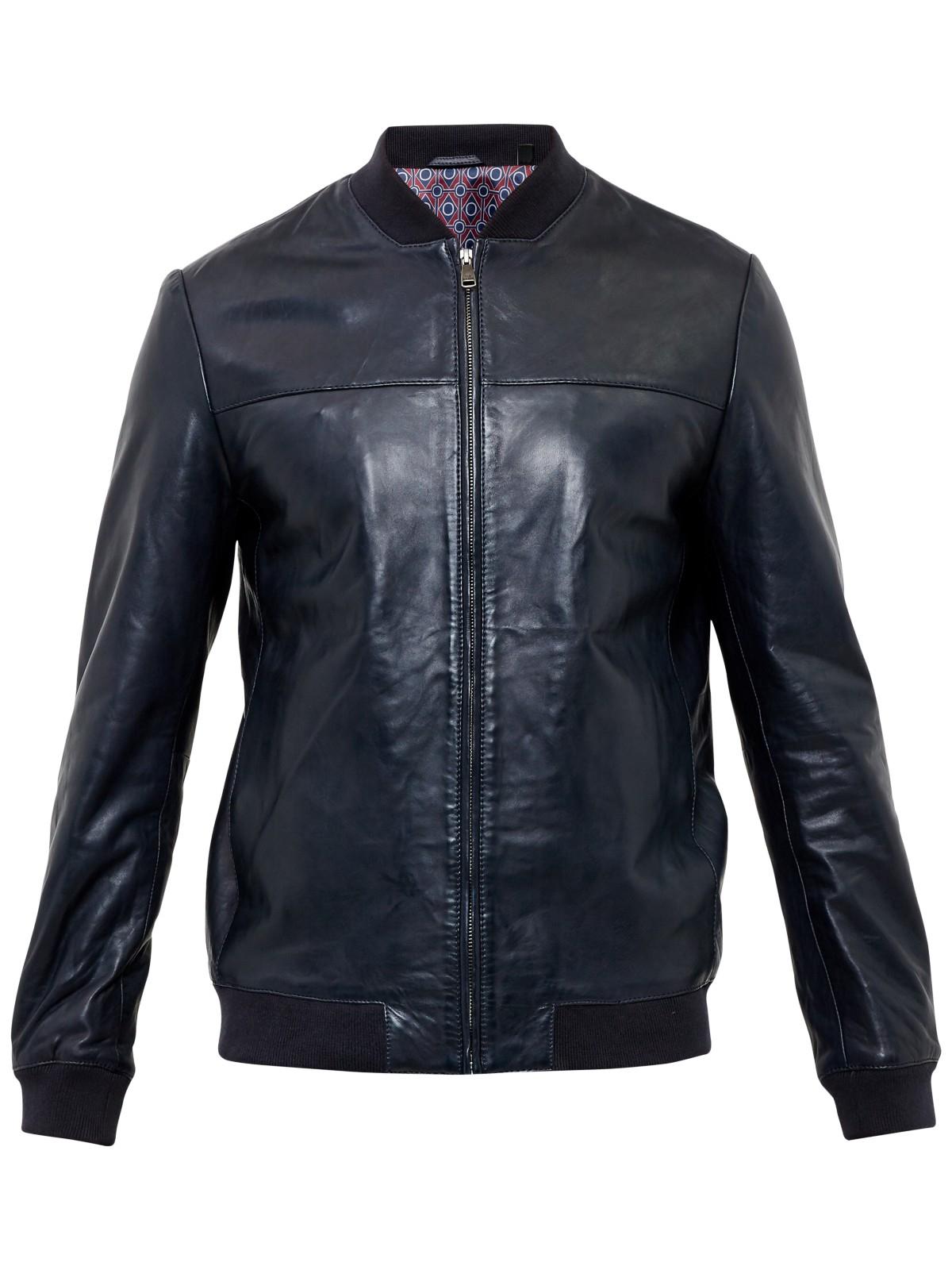 Ted Baker Action Leather Bomber Jacket in Navy (Blue) for Men