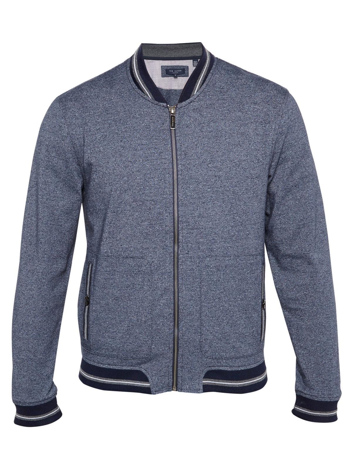 Ted Baker Cotton Envisa Mouline Bomber Jacket in Navy (Blue) for Men