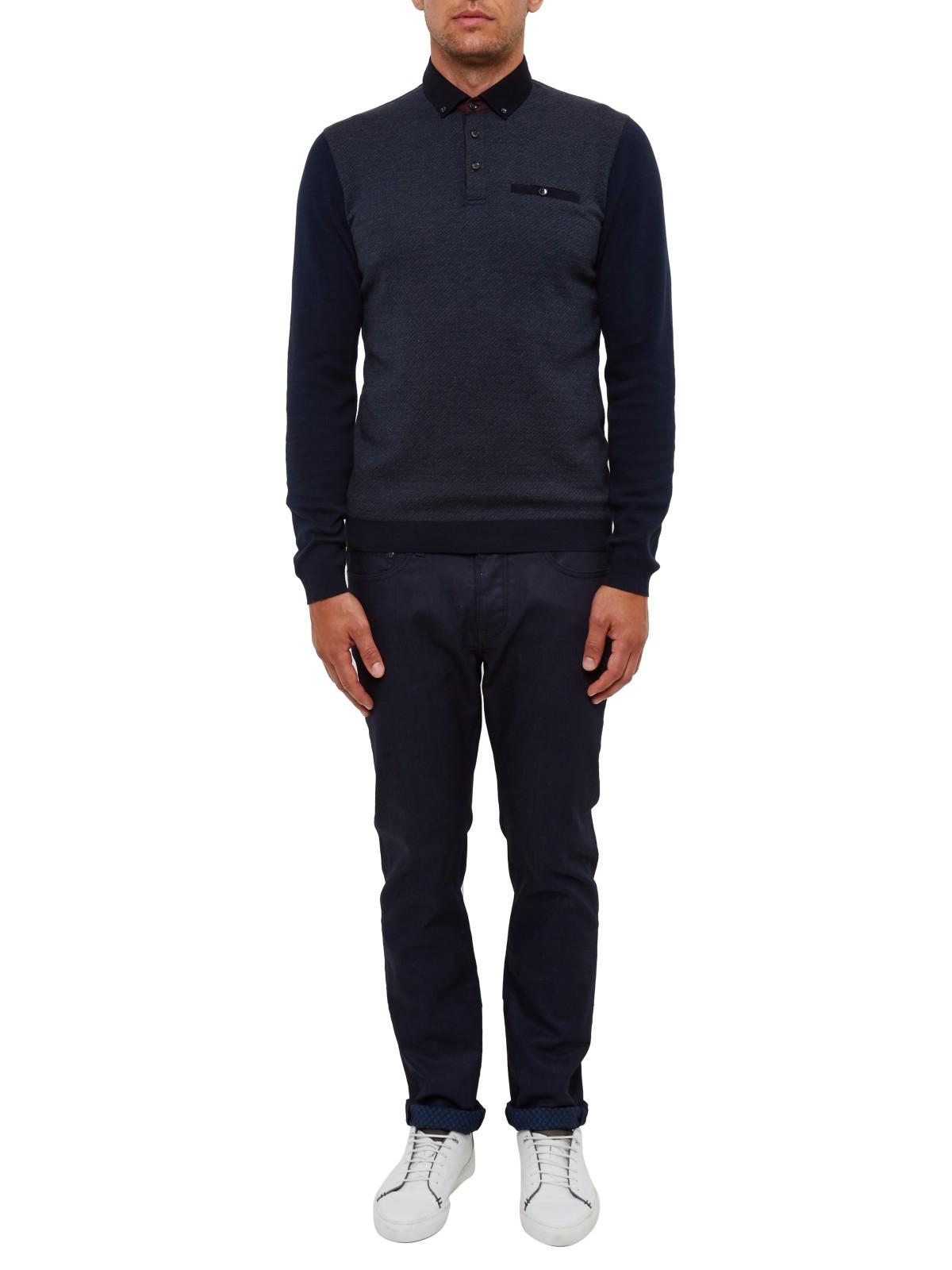 Ted Baker Cotton Rick Knitted Polo Shirt in Navy (Blue) for Men