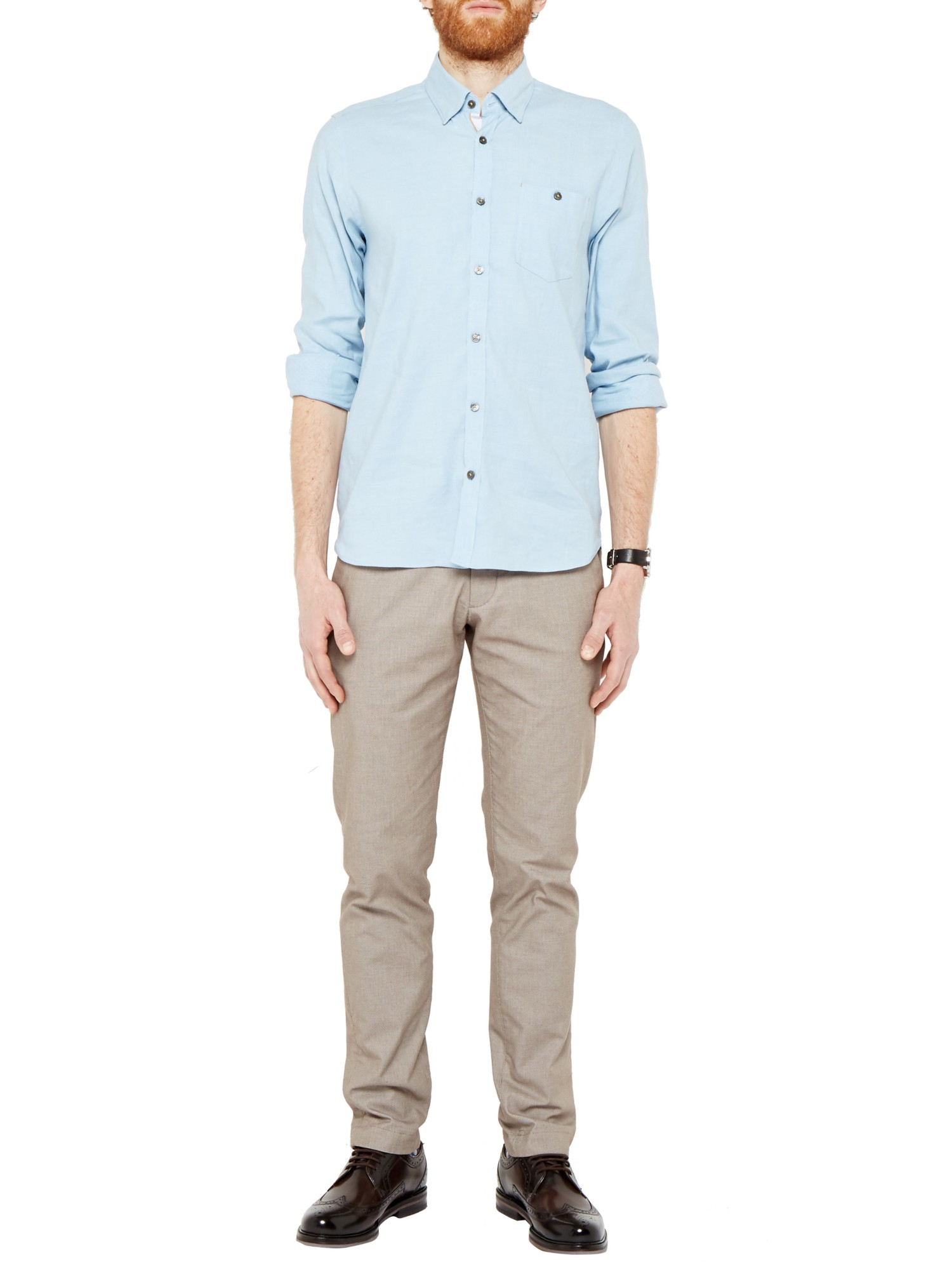 Ted Baker Newline Stretch Linen Blend Shirt in Light Blue (Blue) for Men