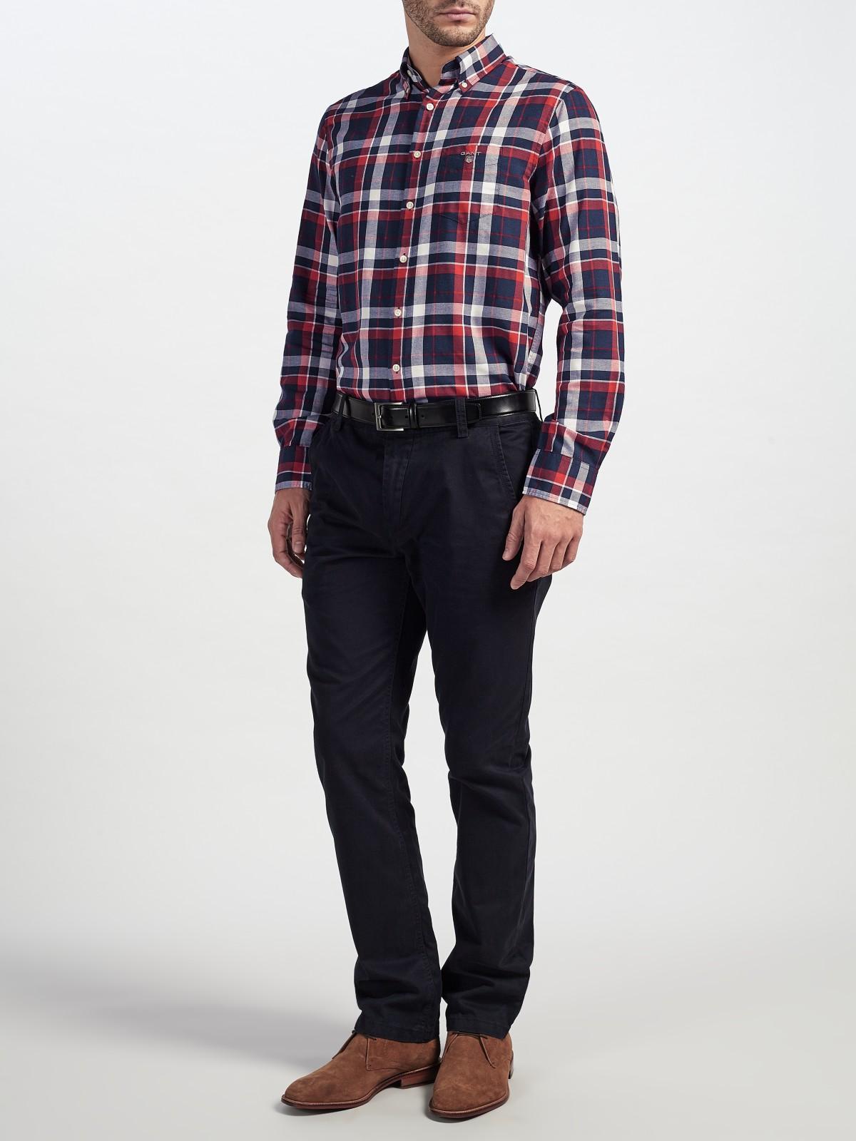 GANT Cotton Tech Prep Dobby Check Shirt in Red for Men