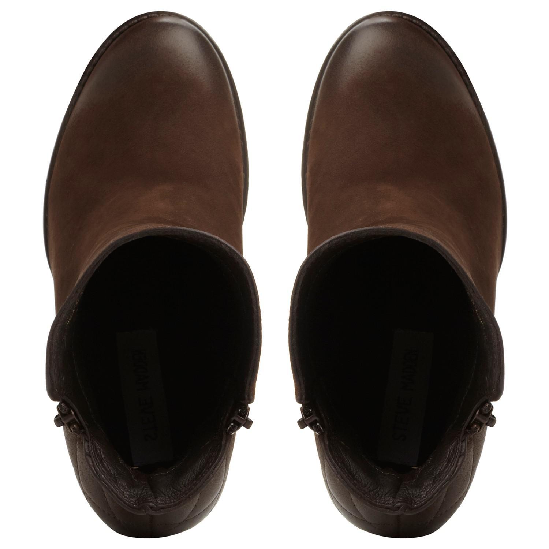 Steve Madden Ryatt-q Block Heeled Ankle Boots in Brown Leather (Brown)