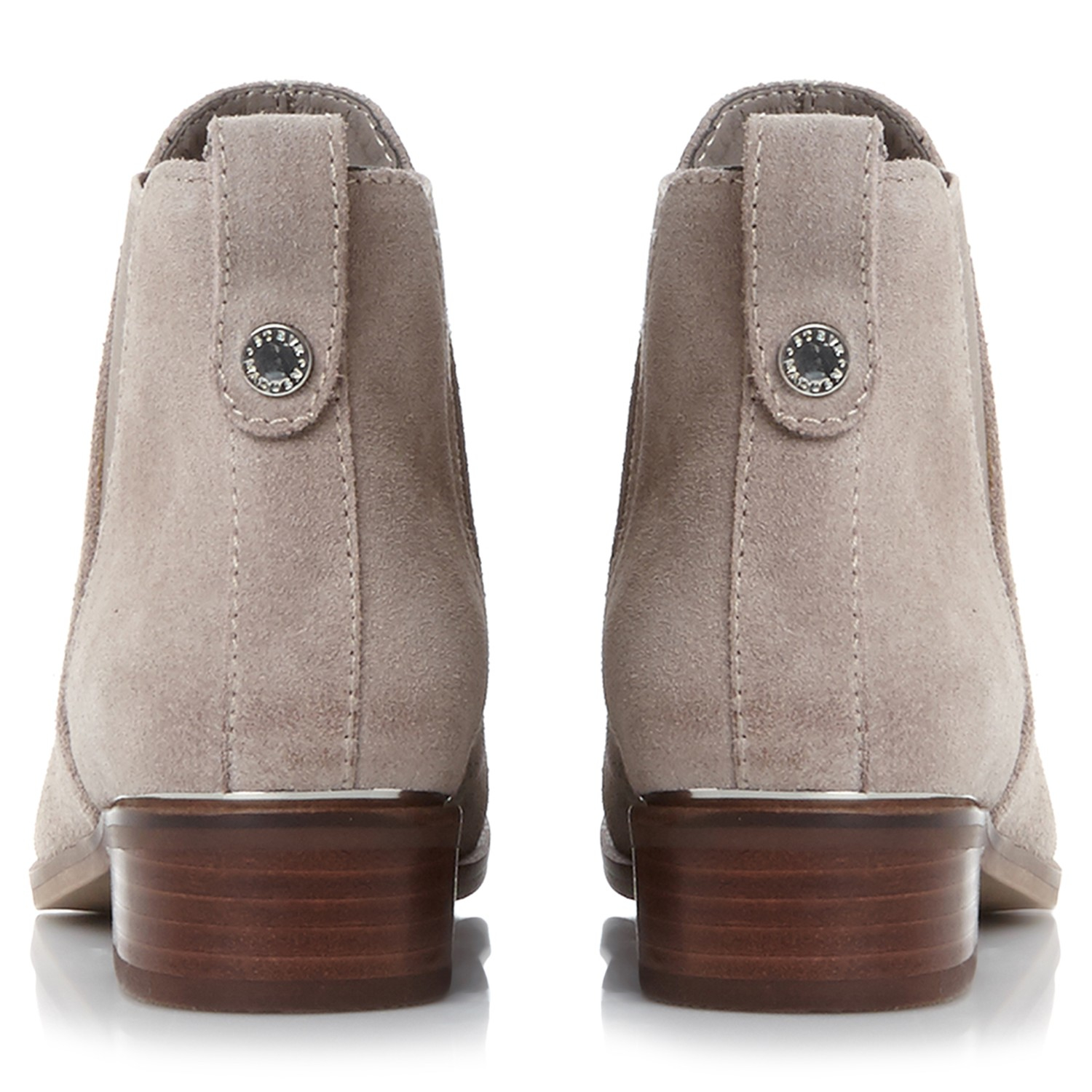 Steve Madden Denim Nickell Block Heeled Ankle Boots in Taupe (Brown)