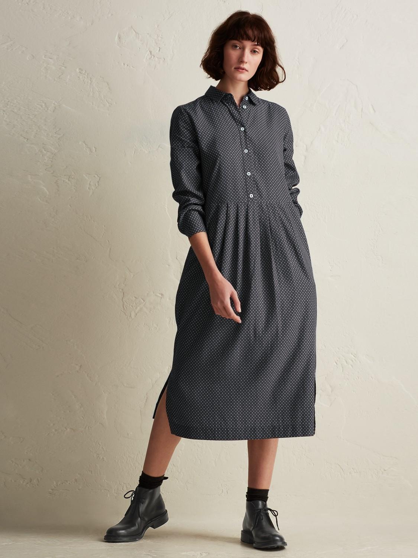 Toast Cotton Dash Print Dress in Dark Grey (Grey)