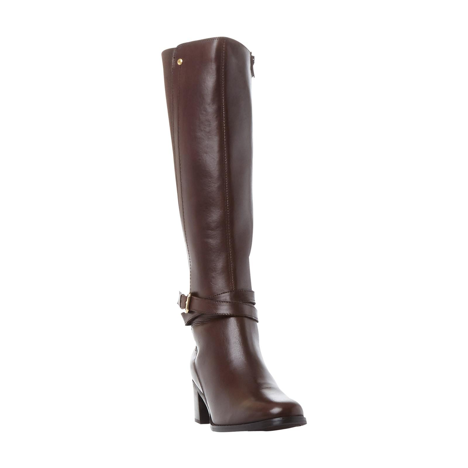 Dune Cashmere Vivv Stretch Back Knee High Boots in Brown