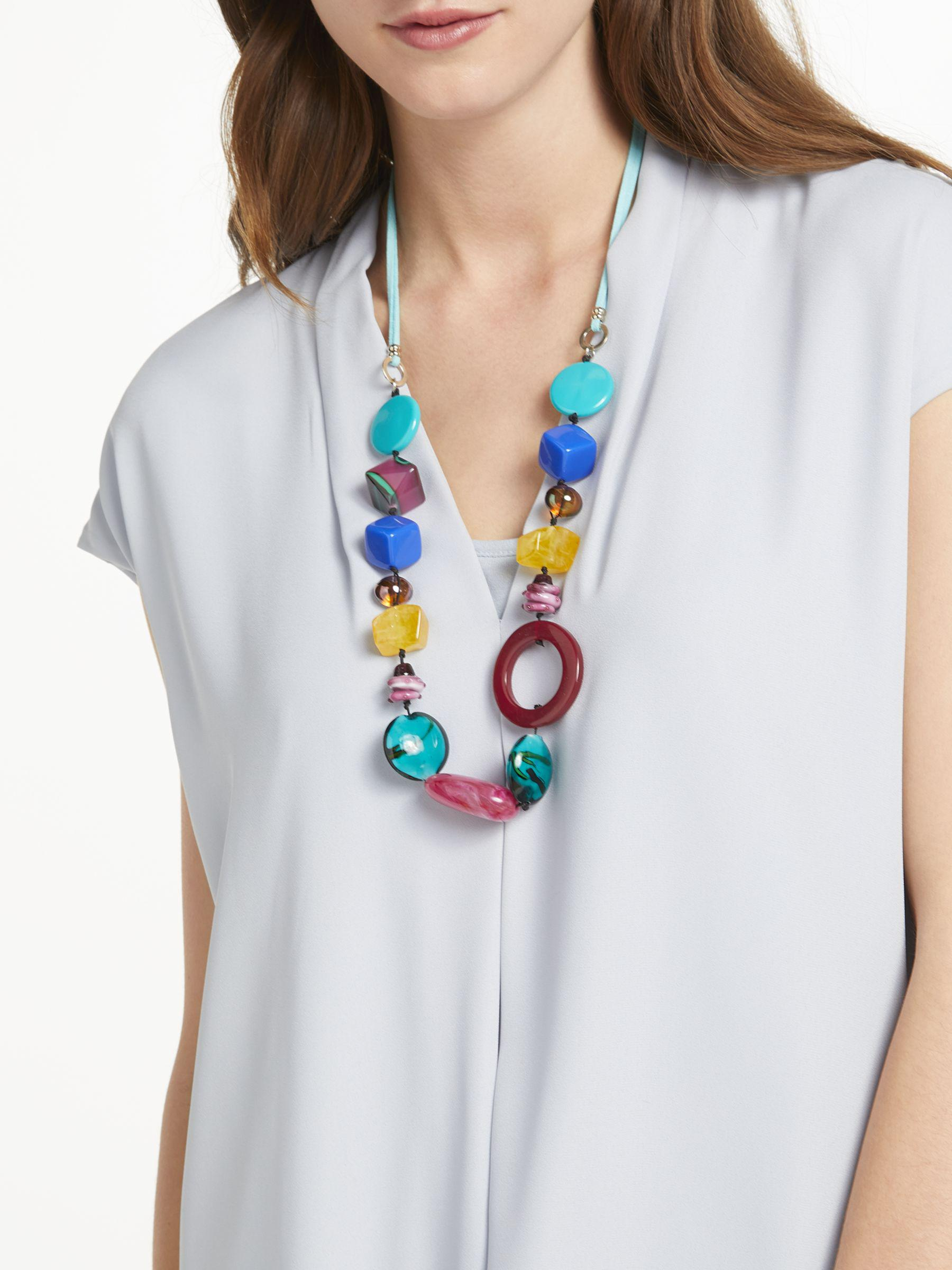 One Button Synthetic Mid Line Bead Necklace