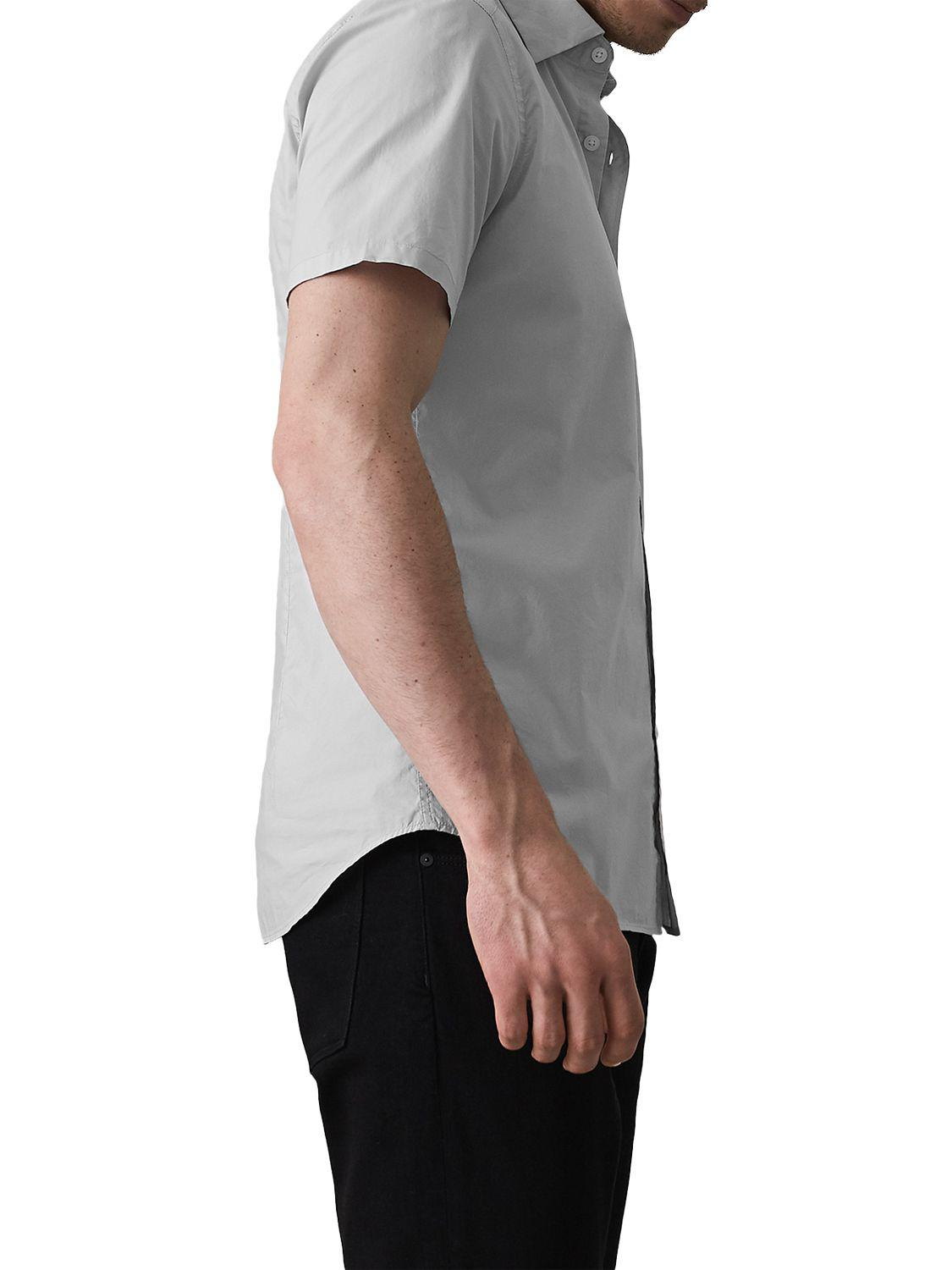 Reiss Cotton Goff - Slim Fit Short Sleeved Shirt in Soft Grey (Grey) for Men