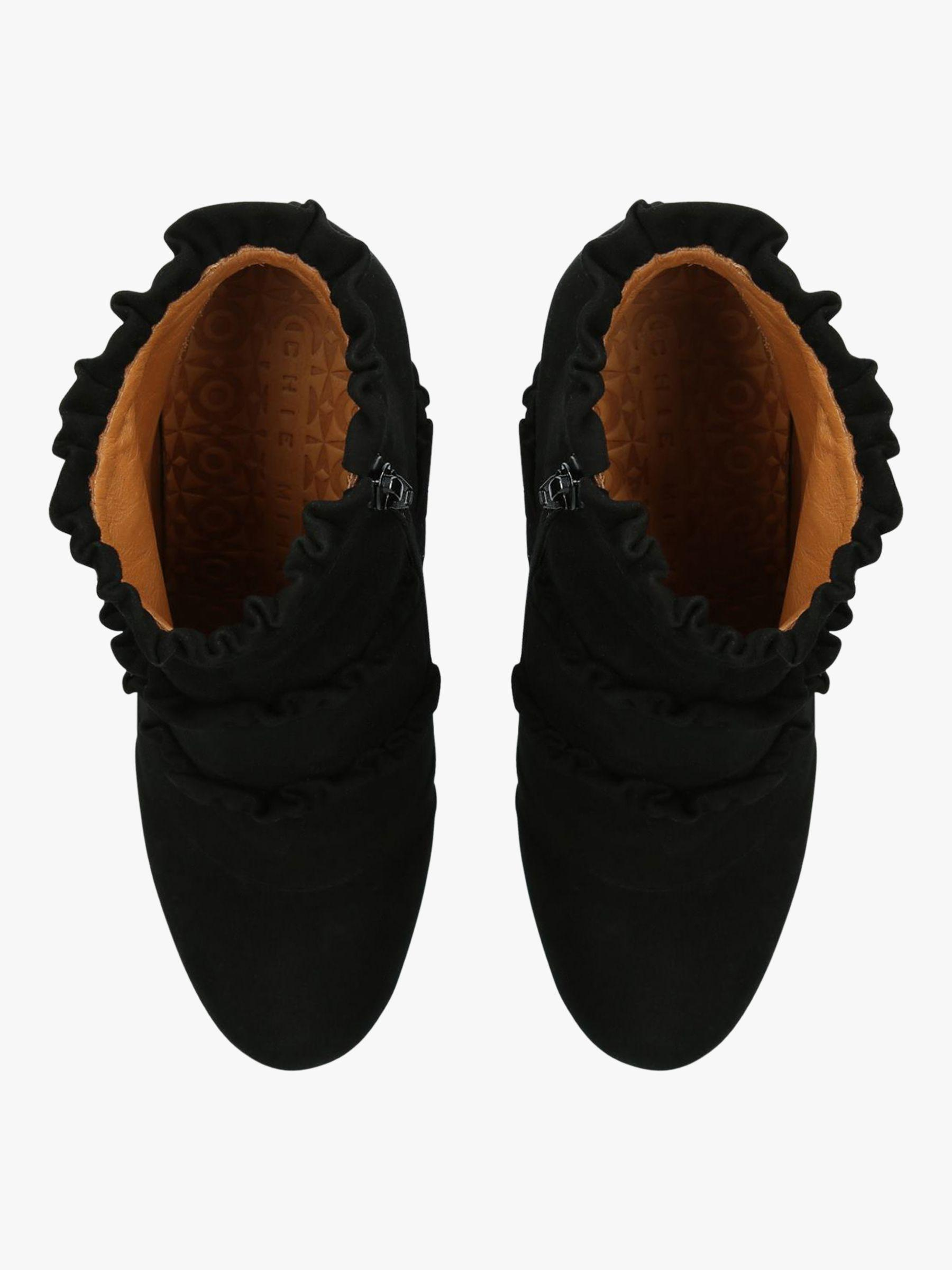 ad0c6f527212 Chie Mihara - Black Kaftan Ruffle Block Heel Ankle Boots - Lyst. View  fullscreen