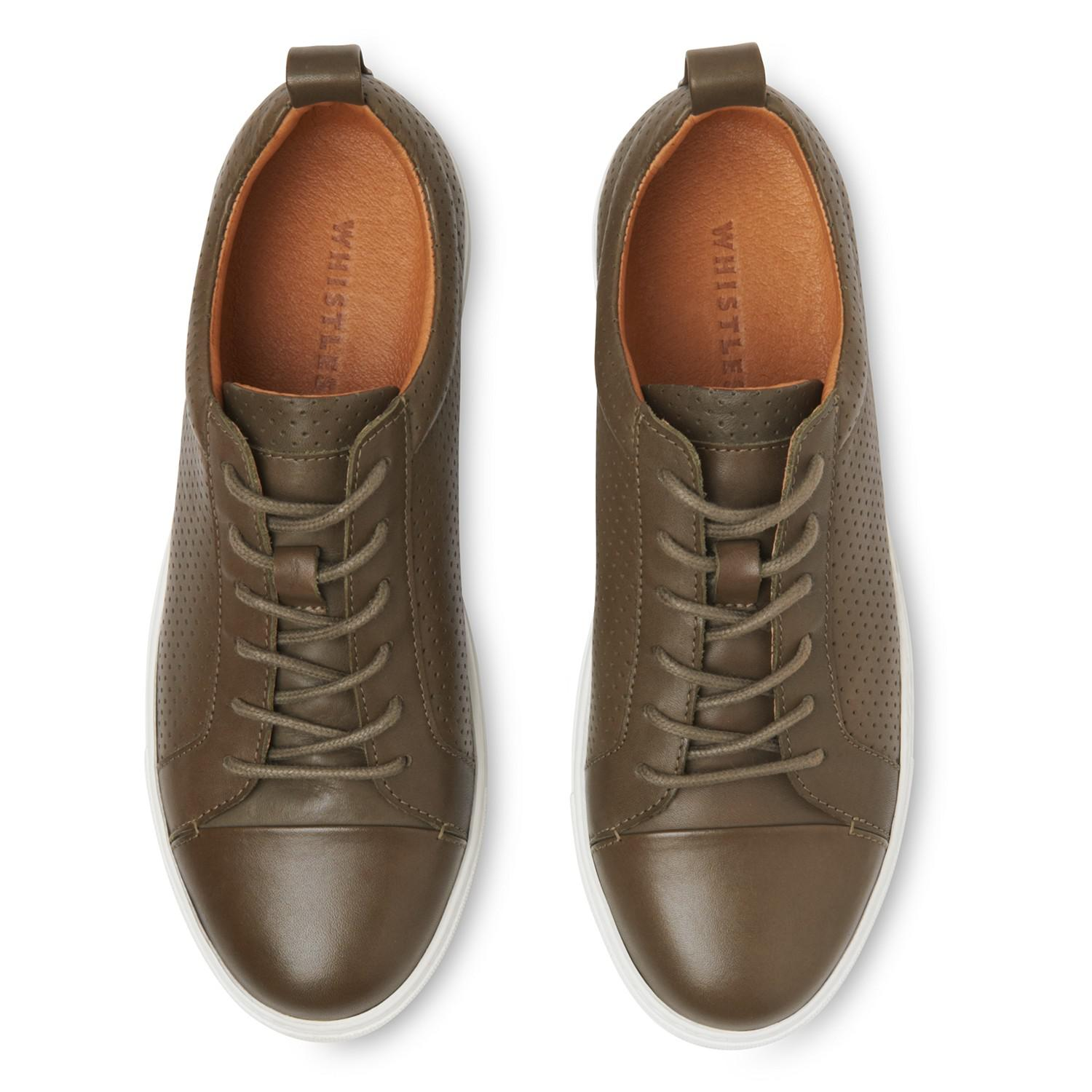 Whistles Leather Kenley Lace Up Trainers for Men