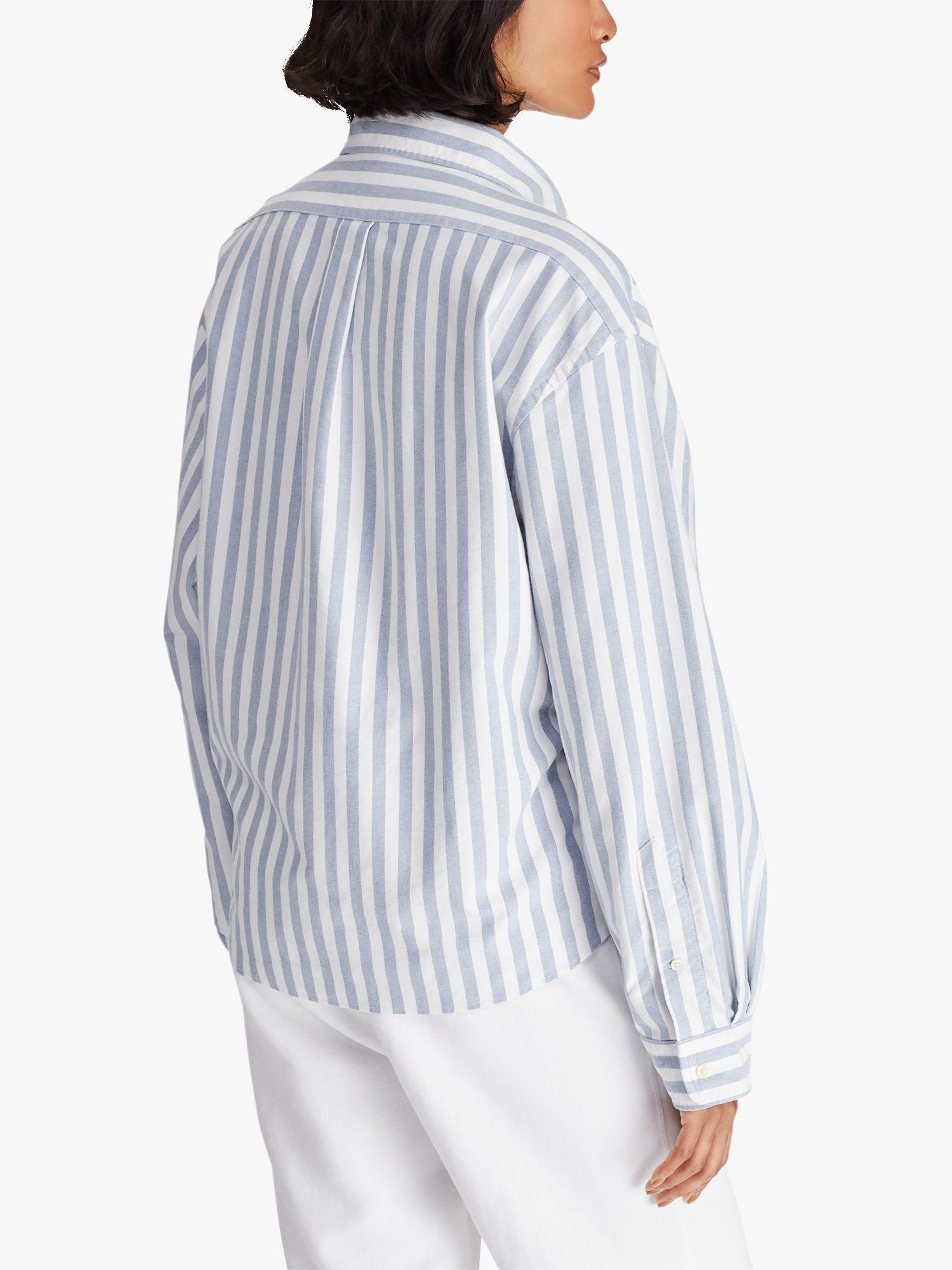 9fda4bb4b37 Ralph Lauren - Blue Polo Wide Stripe Cropped Oxford Shirt - Lyst. View  fullscreen