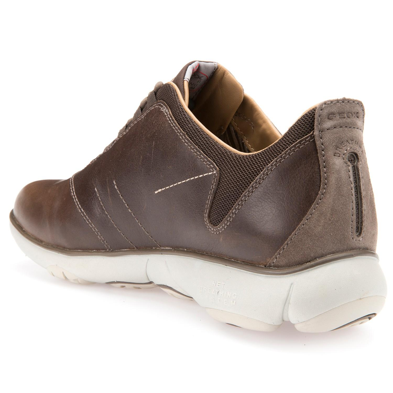 Geox Leather Nebula 3d Breathing Trainers in Brown for Men