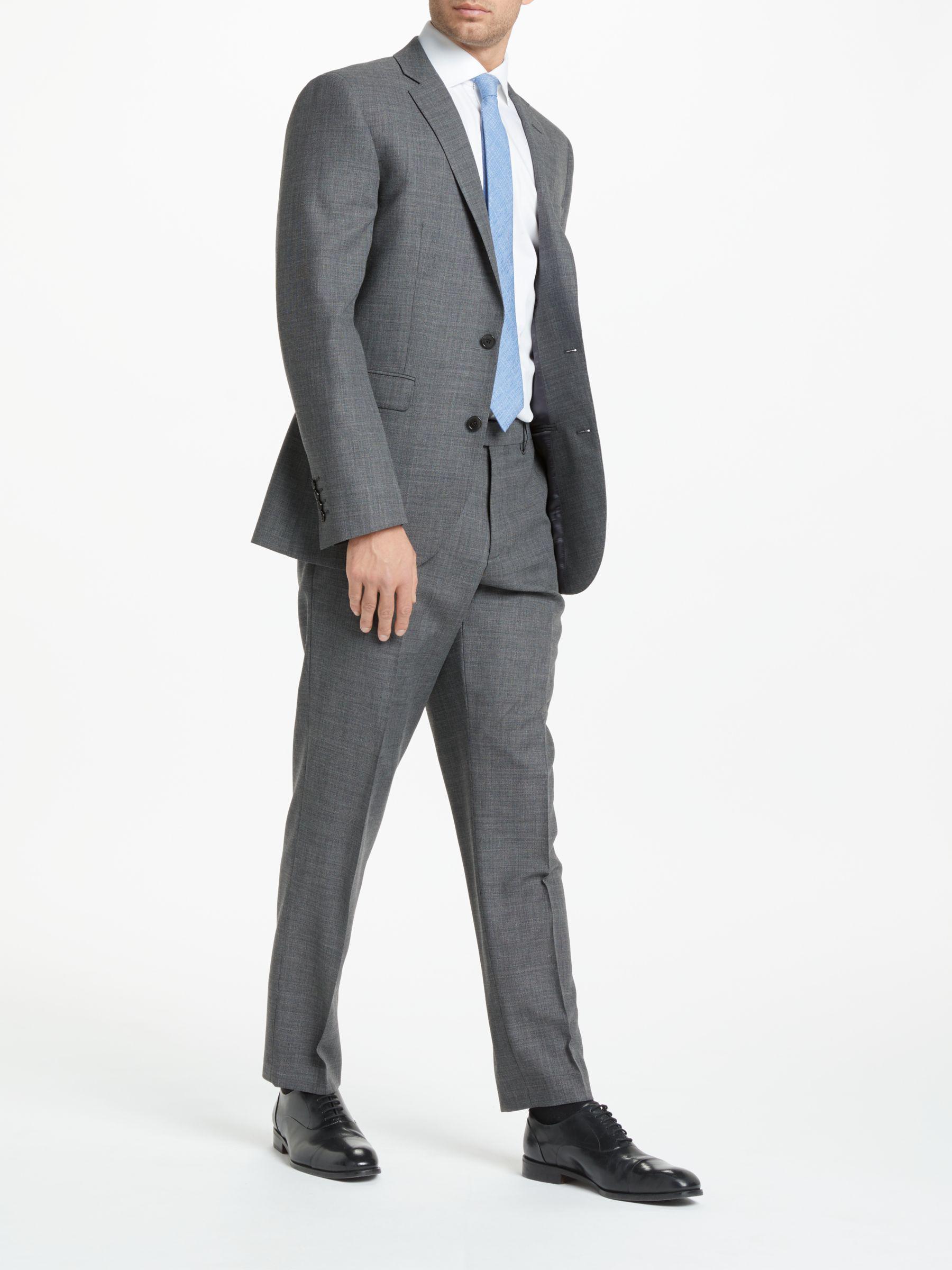 John Lewis Semi Plain Super 100s Wool Travel Suit Jacket in Grey (Grey) for Men