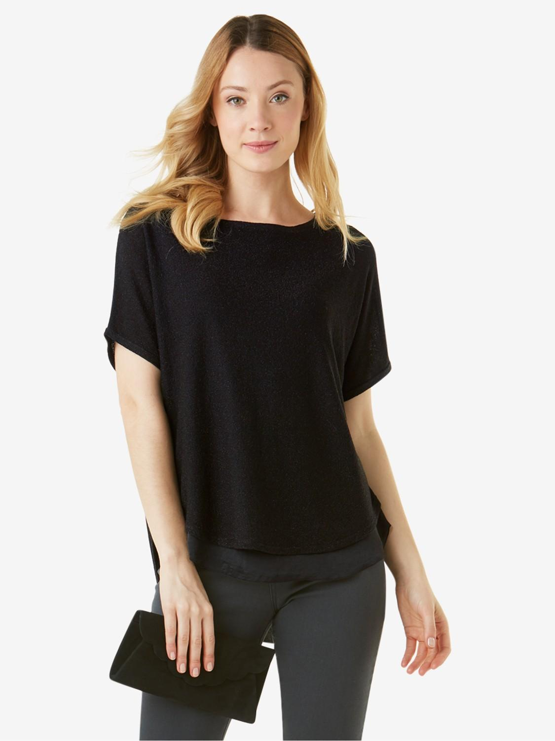 Phase Eight Satin Macey Knit Jumper in Black