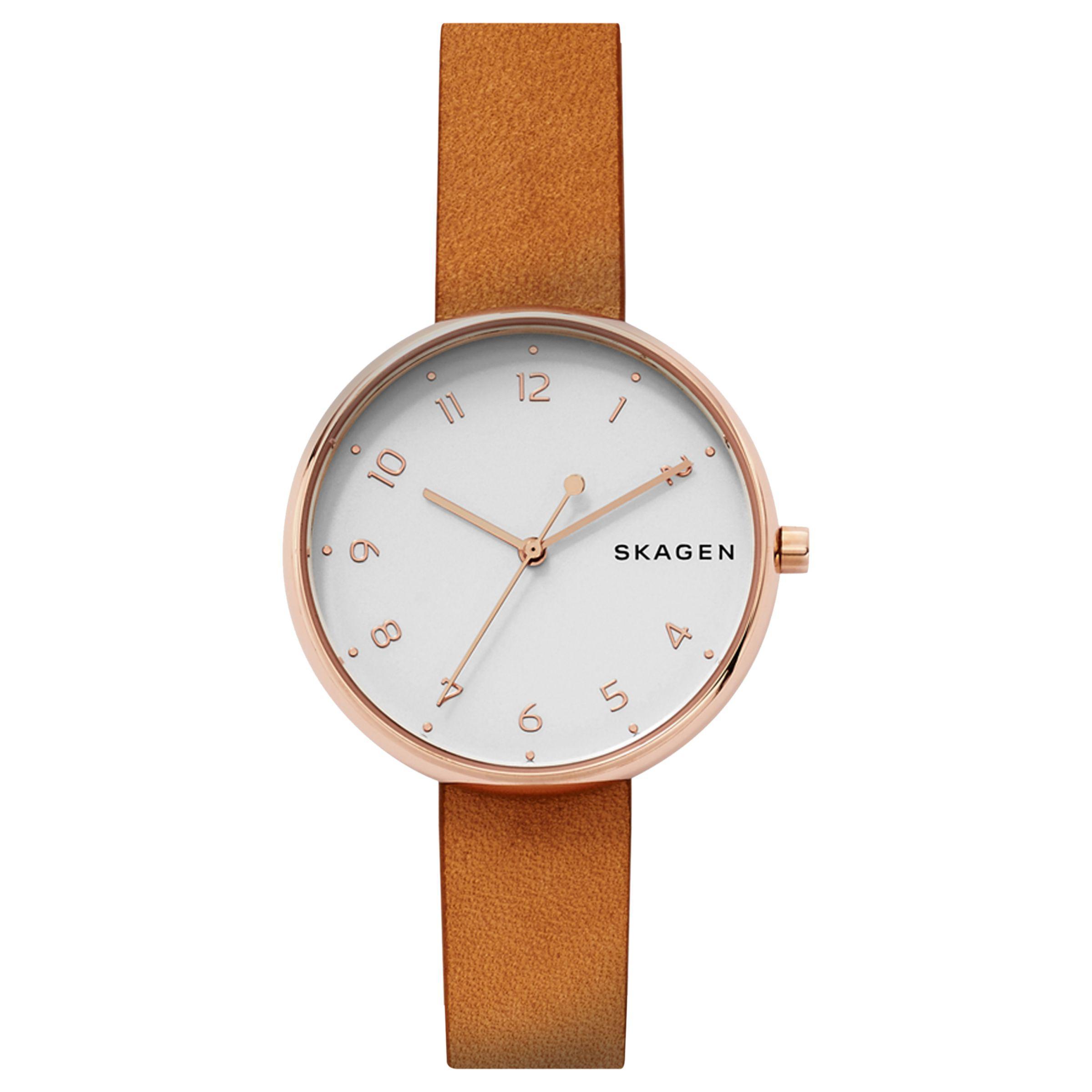 2f296a88b Skagen Men's Signatur Slim Leather Strap Watch in White - Lyst