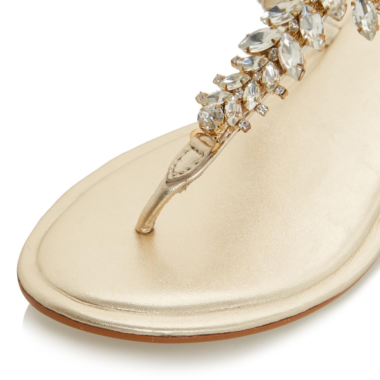 f6acd534f92761 Dune Nara Jewelled Toe Post Flat Sandals in Metallic - Lyst