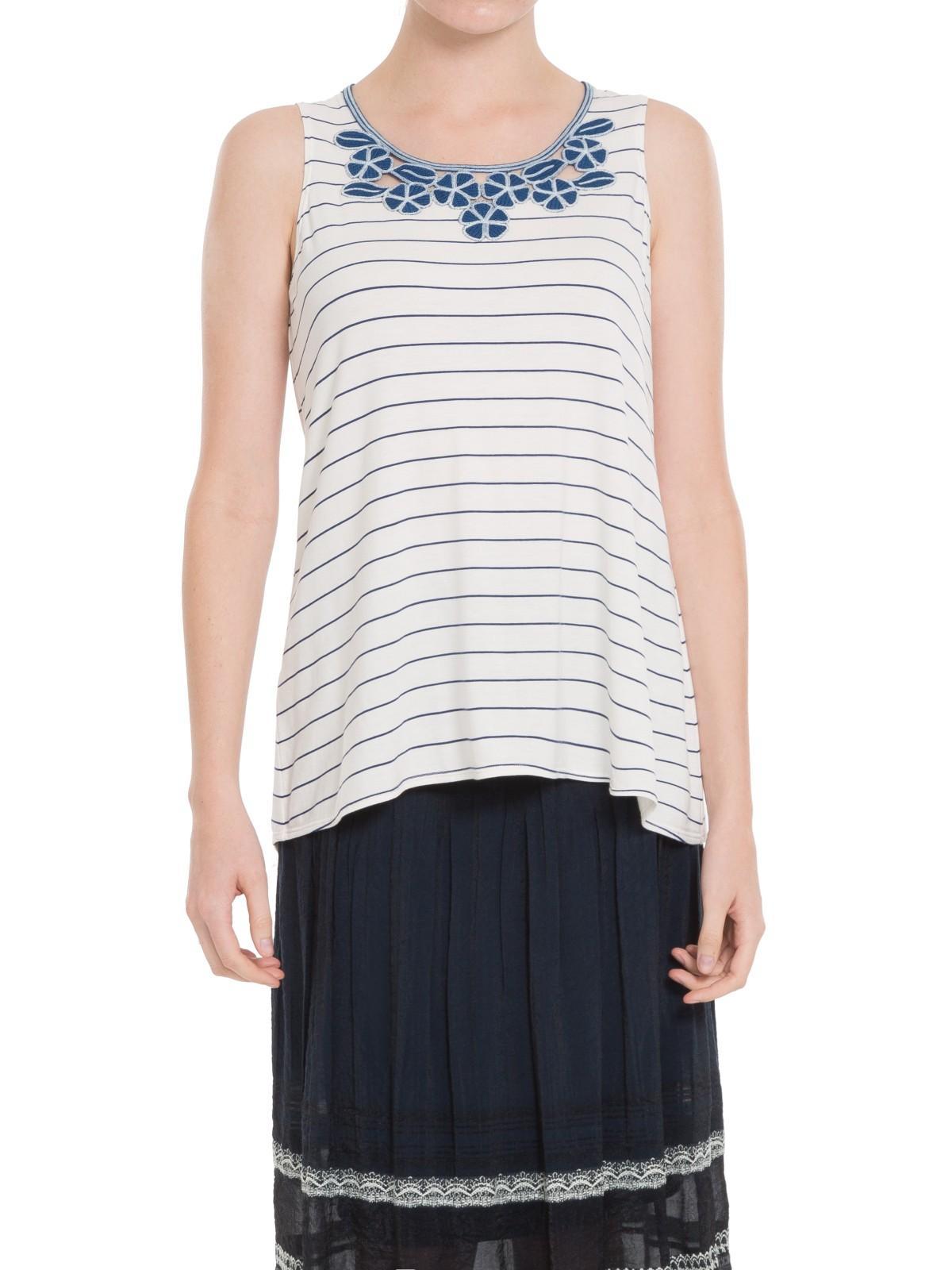Max Studio Denim Embroidered Stripe Jersey Top in White/Blue (White)