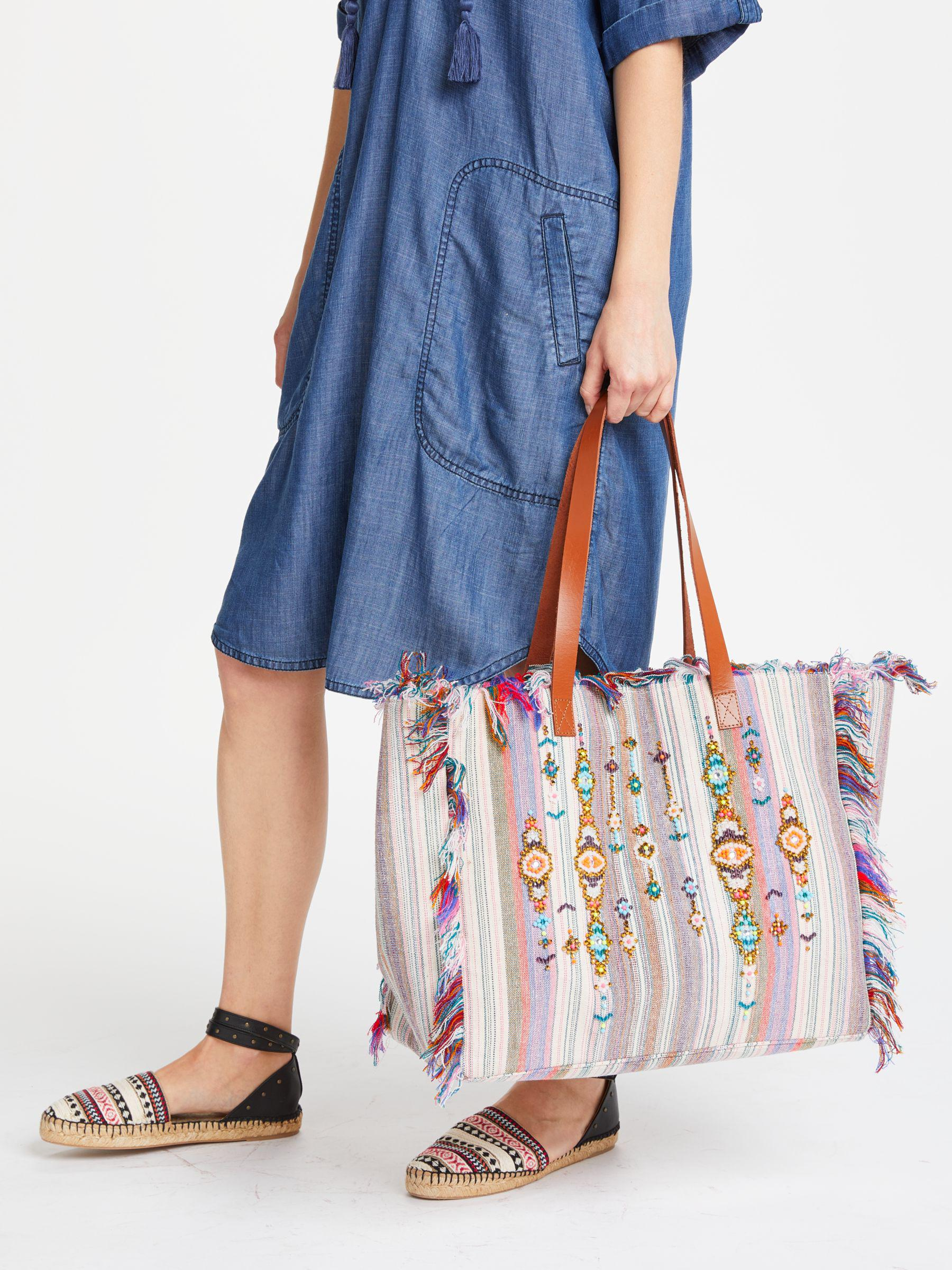 John Lewis And/or Avalon Jewelled Stripe Tote Bag