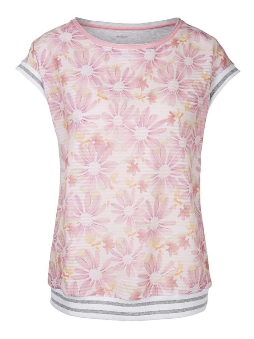 Marc Cain Silk Front Double Layer Top in Pink