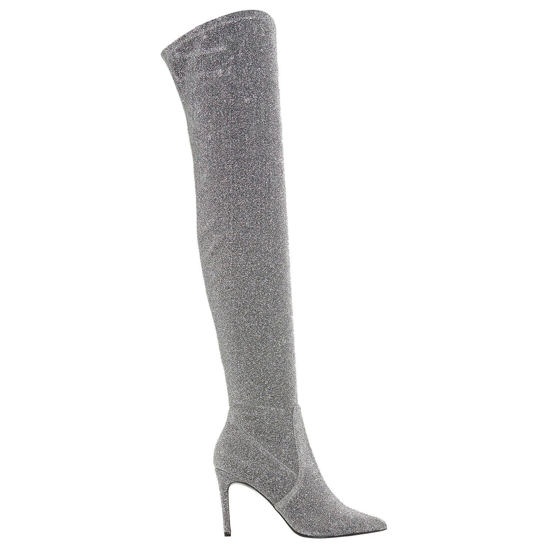 Dune Sloanne High Heel Over The Knee Boots in Silver (Metallic)