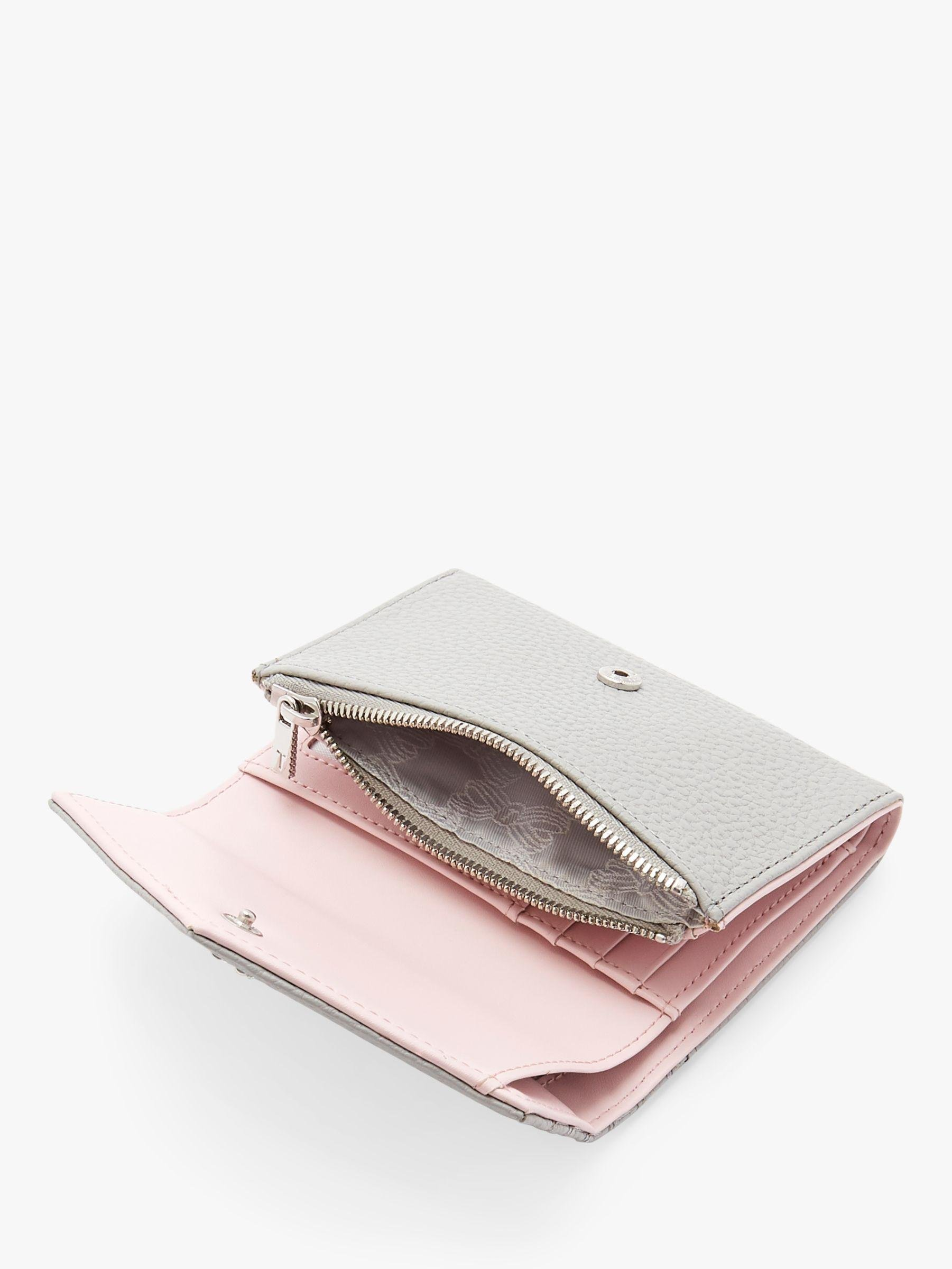 Ted Baker Nourr Small Leather Foldover Purse In Mid Grey