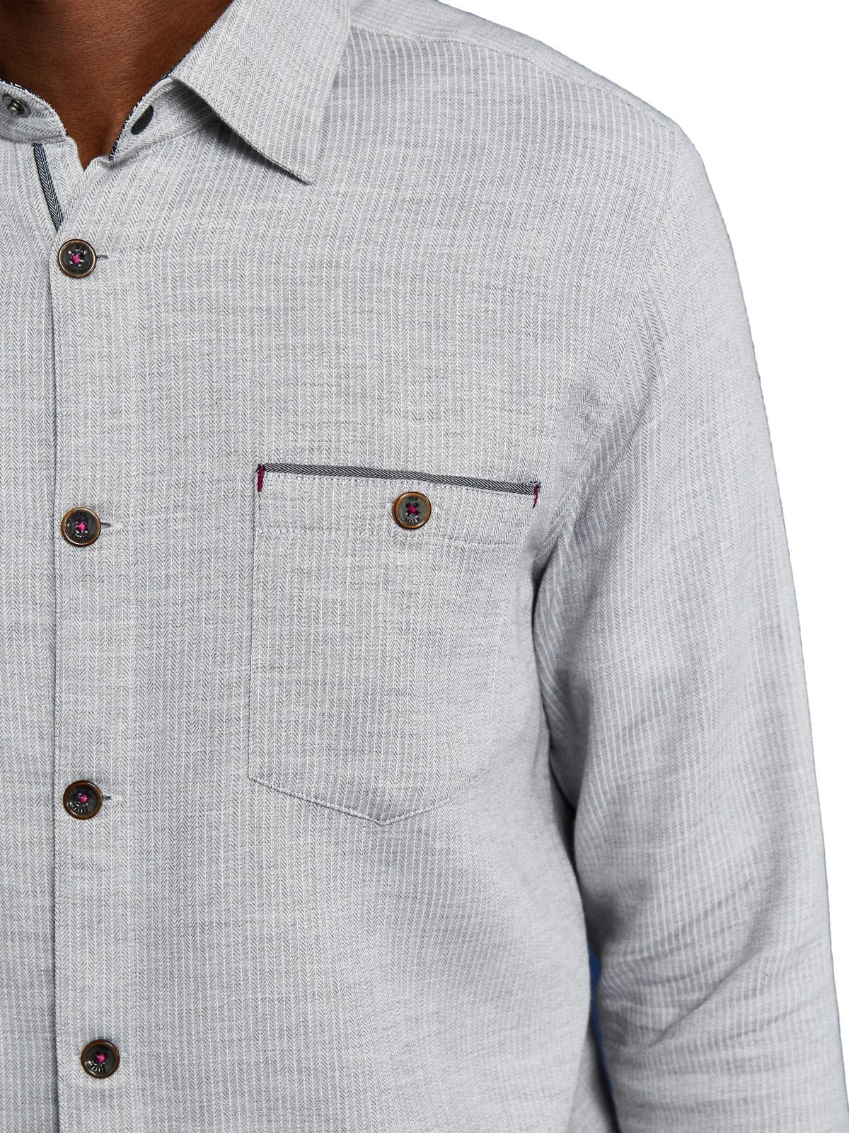Ted Baker Cotton Bezie Long Sleeve Ribbed Shirt in Grey (Grey) for Men