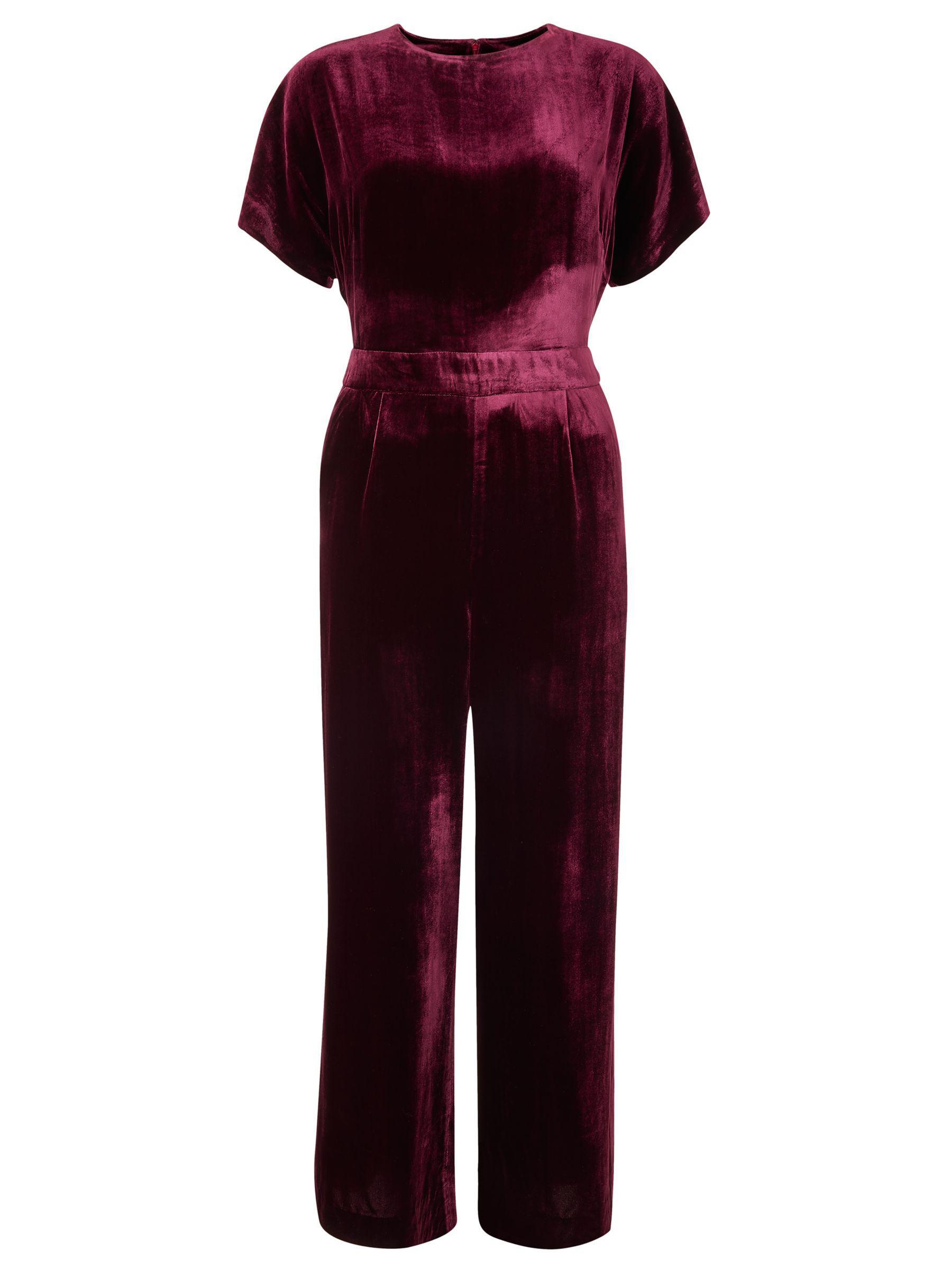 Boden Aston Velvet Jumpsuit In Red Lyst