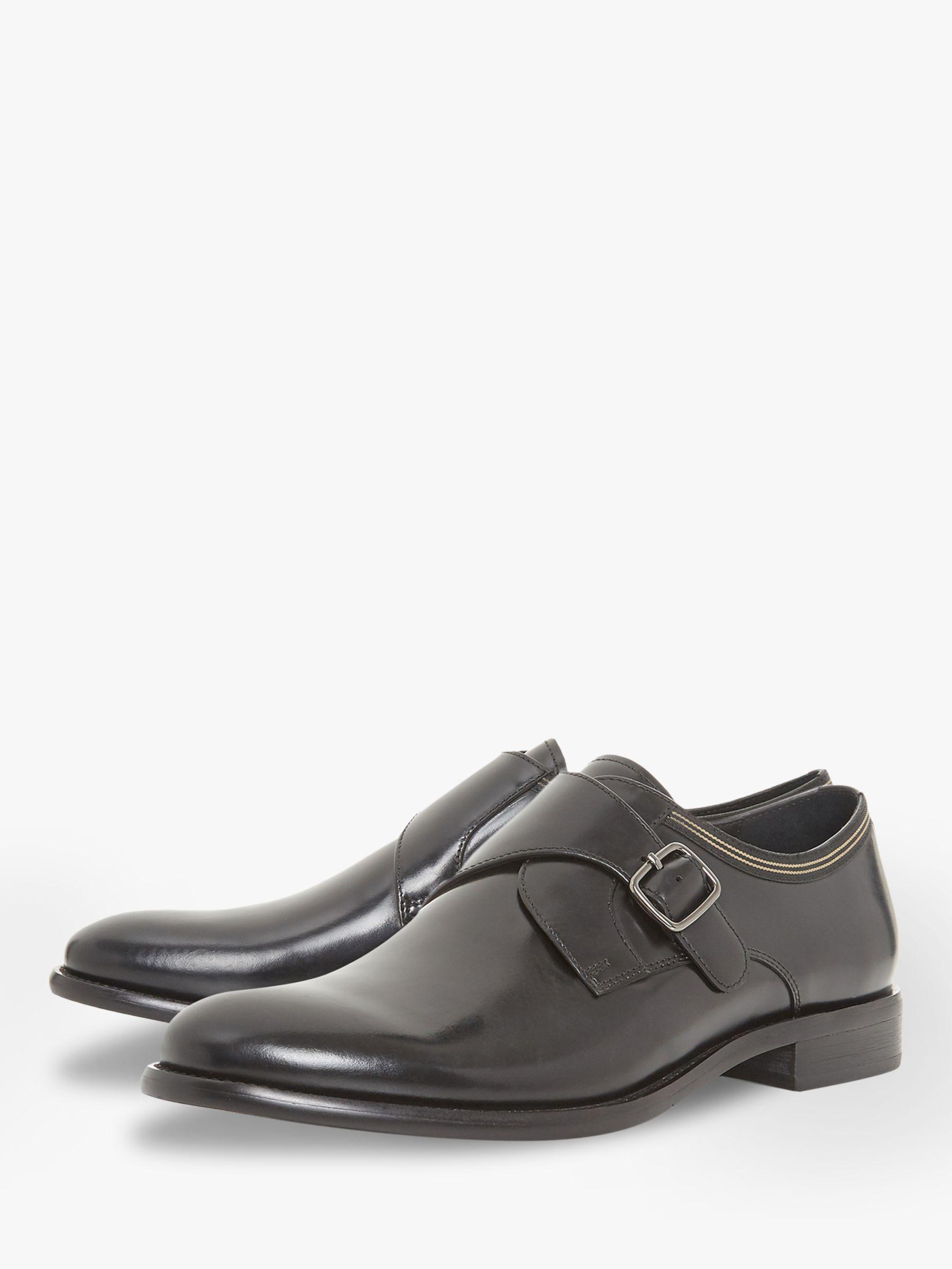 Bertie Leather Pilcrow Monk Strap Shoes in Black for Men