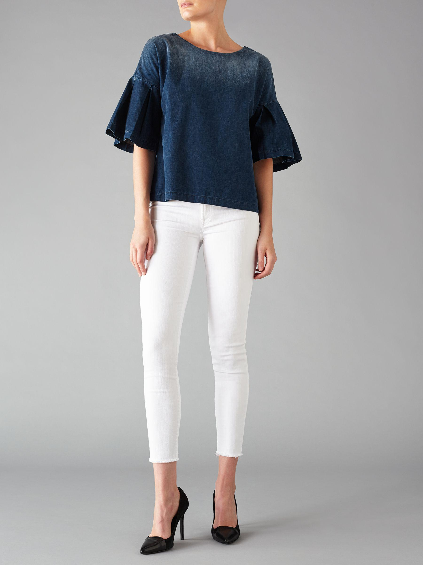 7 For All Mankind Denim English Harbour Blouse in Denim (Blue)
