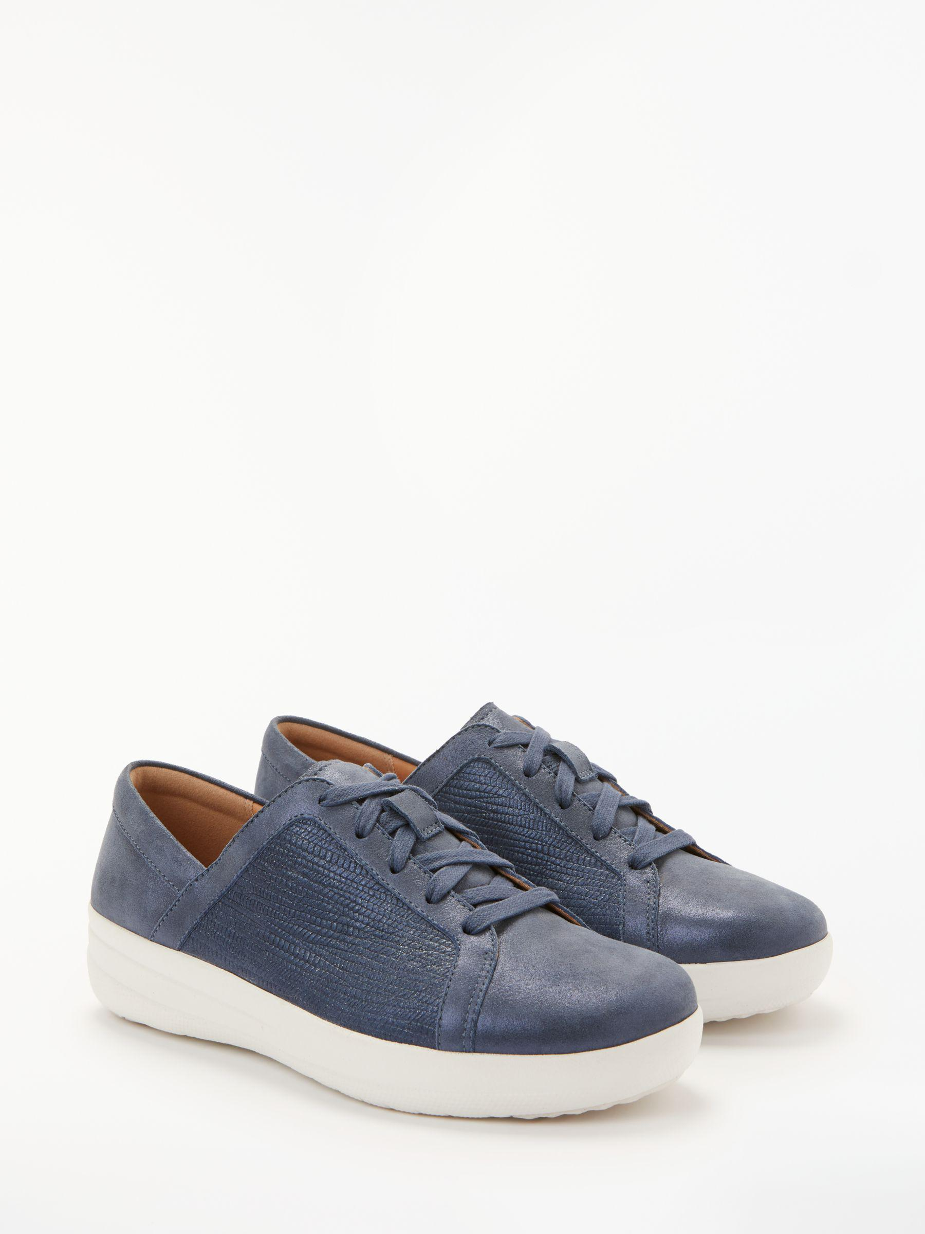 be0a489fb2b0 Fitflop F-sporty Textured Metallic Lace Up Trainers in Blue - Lyst