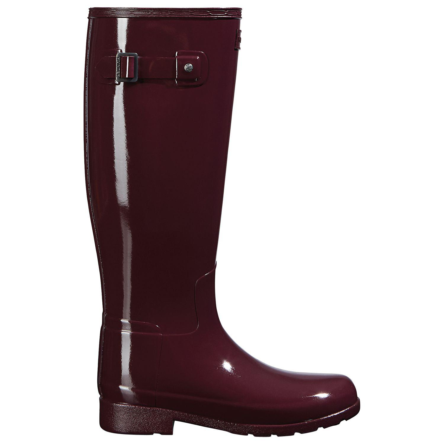 HUNTER Rubber Women's Original Refined Gloss Tall Boots in Oxblood (Red)