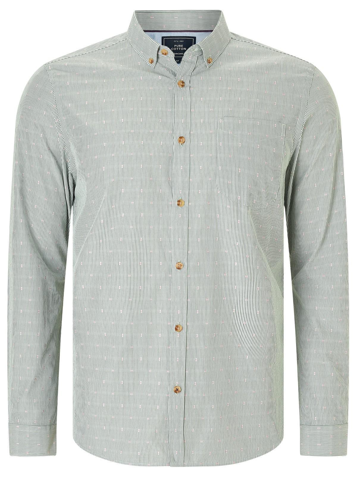 John Lewis Cotton Dobby Stripe Shirt in Green for Men