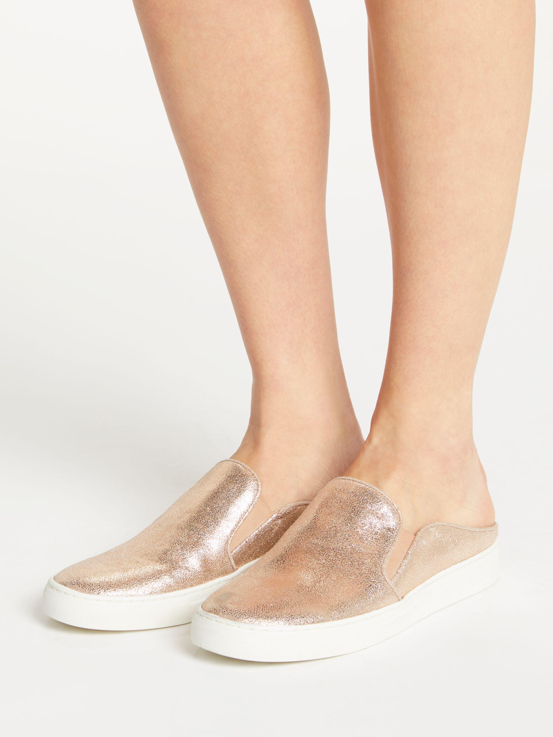 John Lewis Leather Slip On Backless Trainers in Rose Gold (Pink)