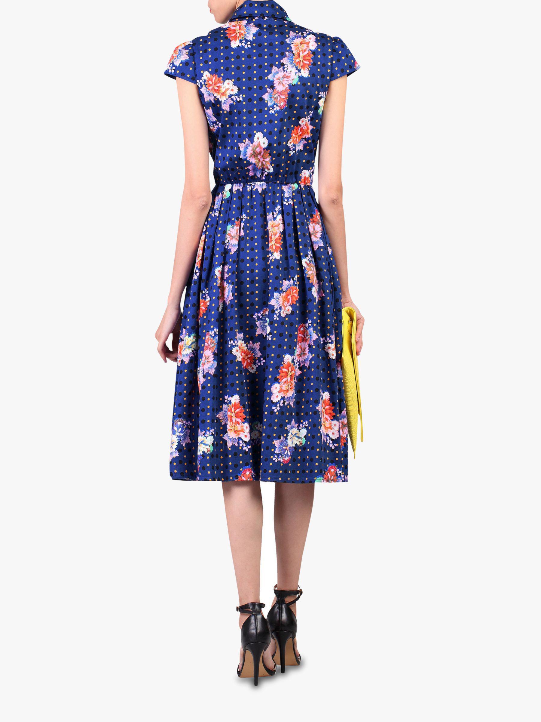 a8c3c052893 ... Blue Floral Spot Print Shirt Dress - Lyst. View fullscreen
