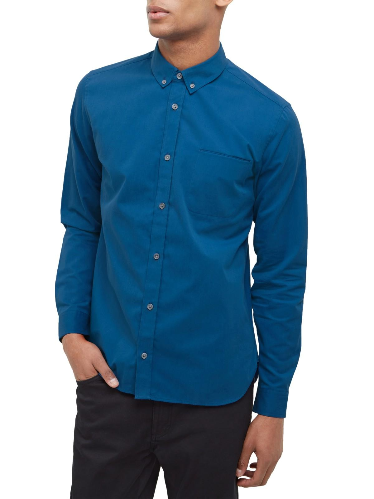 Lyst jaeger brushed twill pocket shirt in blue for men for Brushed cotton twill shirt