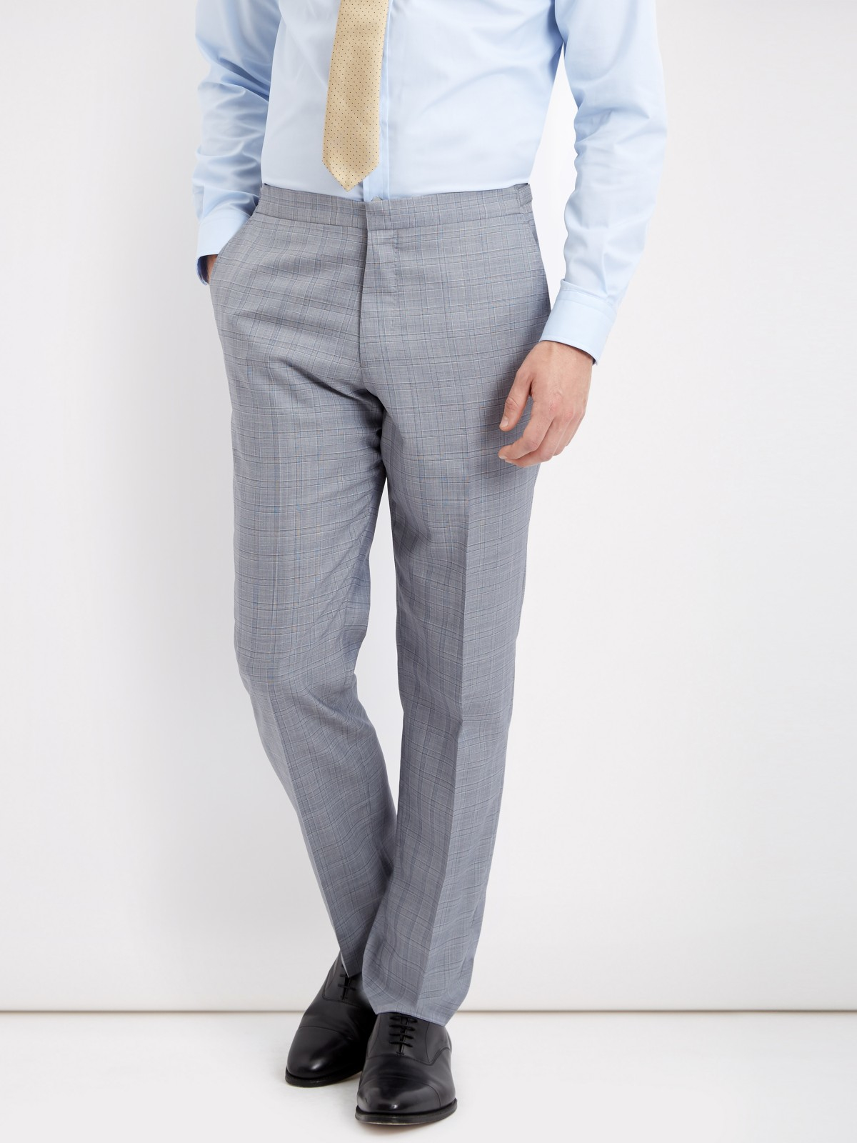 Jaeger Wool Glen Check Slim Fit Suit Trousers in Grey (Grey) for Men