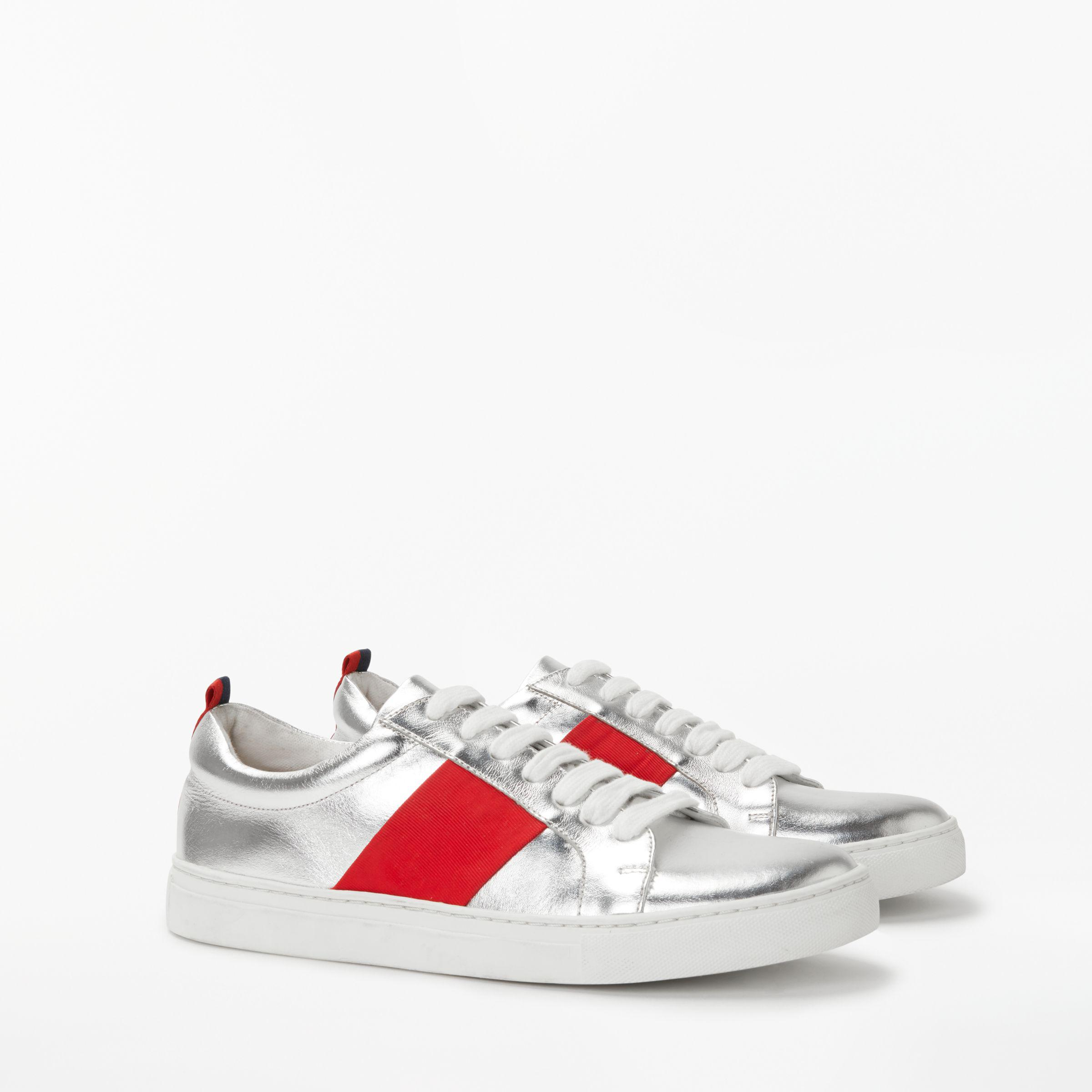 Boden Leather Classic Trainers in Silver Metallic (Metallic)