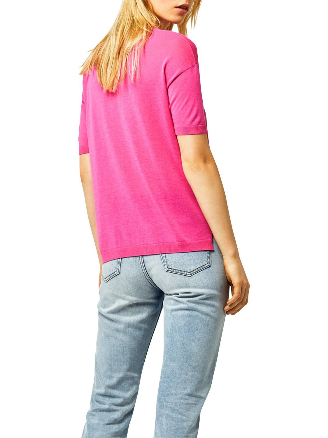 Warehouse Cotton Boxy Knitted Top in Bright Pink (Pink)
