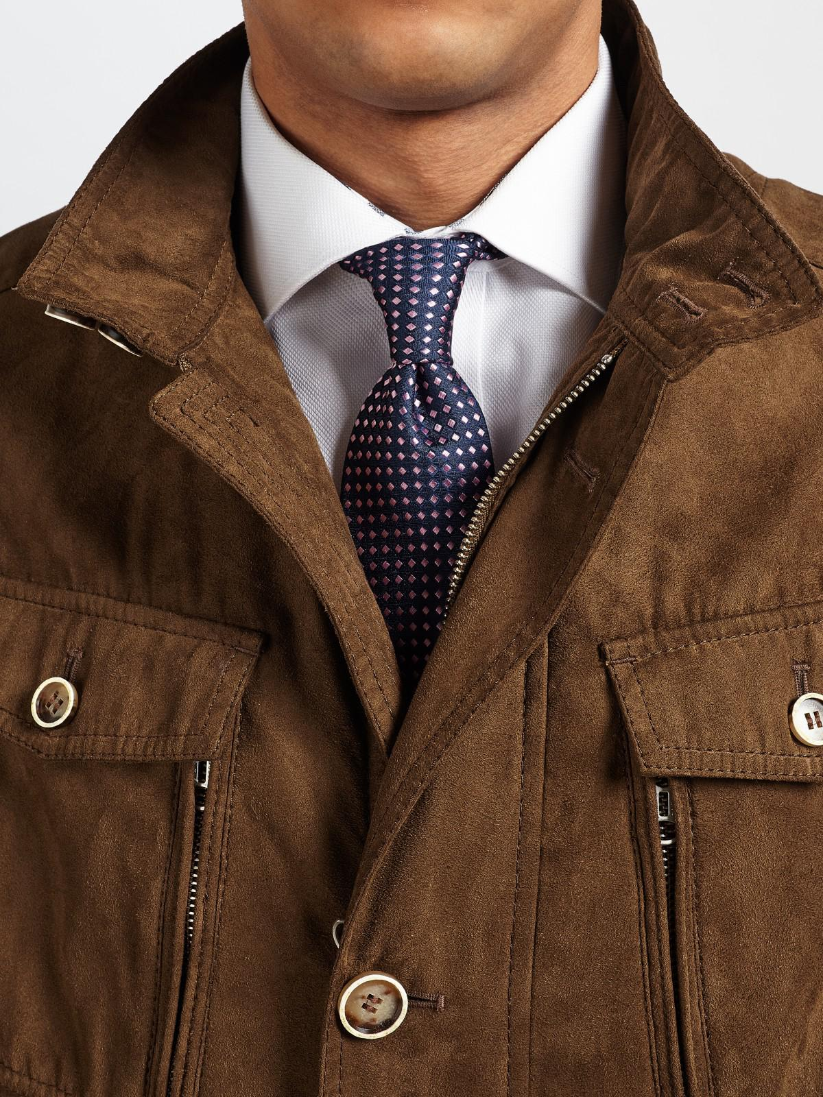 Bugatti Synthetic Microma Velour Water Repellent Two Pocket Jacket in Tobacco (Brown) for Men