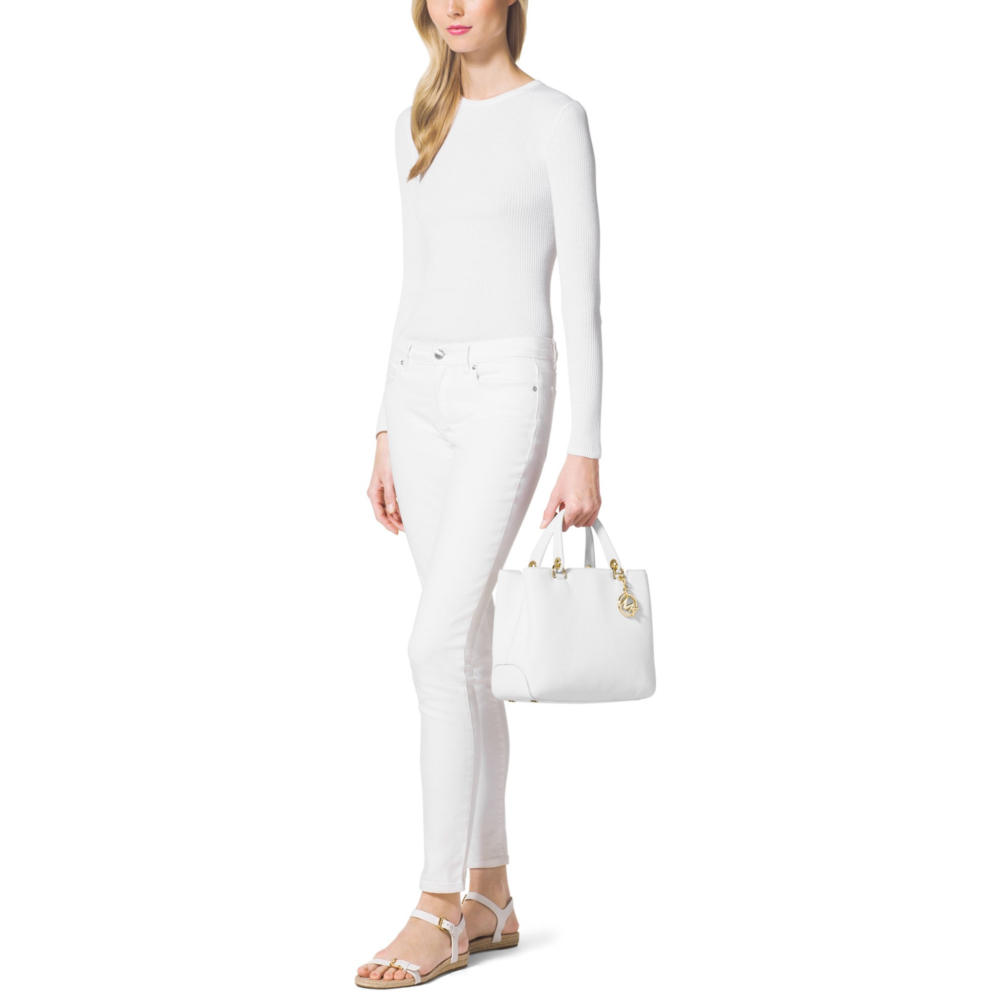 MICHAEL Michael Kors Leather Anabelle Medium Tote Bag in White