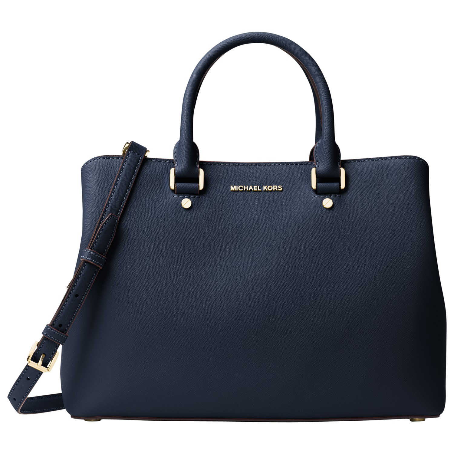 michael michael kors savannah large leather satchel in blue lyst. Black Bedroom Furniture Sets. Home Design Ideas
