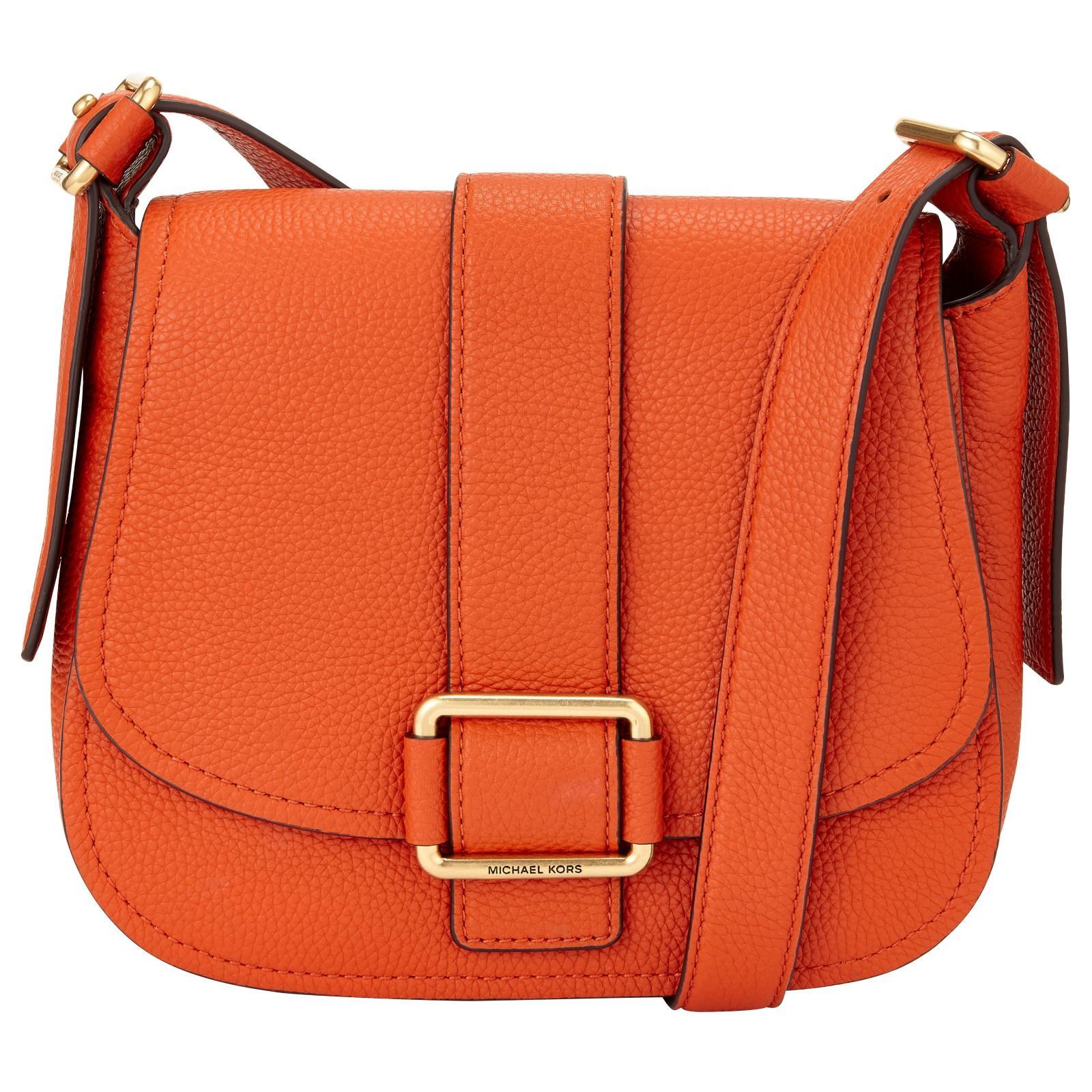 302545a77204 Michael Michael Kors Maxine Large Leather Across Body Bag in Orange ...