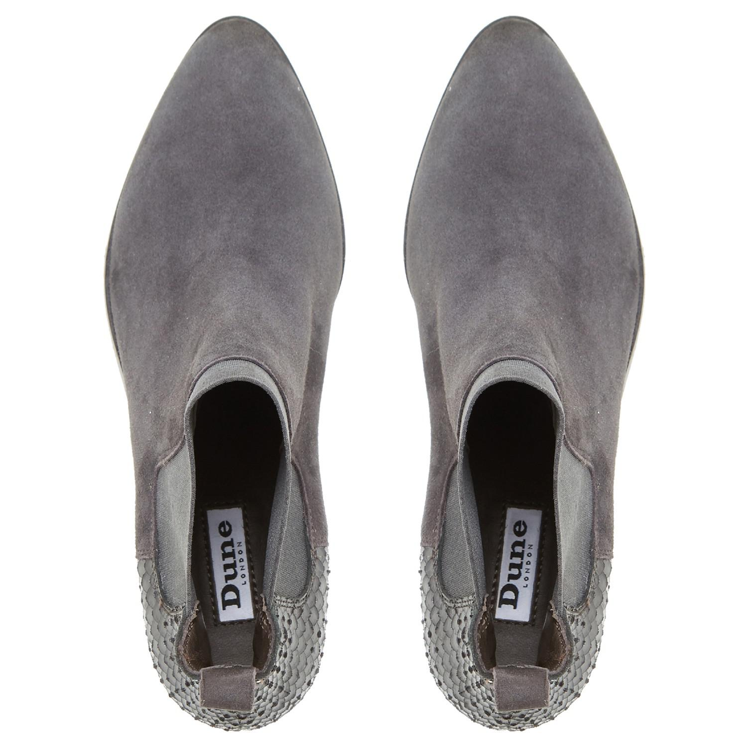 Dune Leather Oprentice Block Heeled Ankle Boots in Grey (Grey)