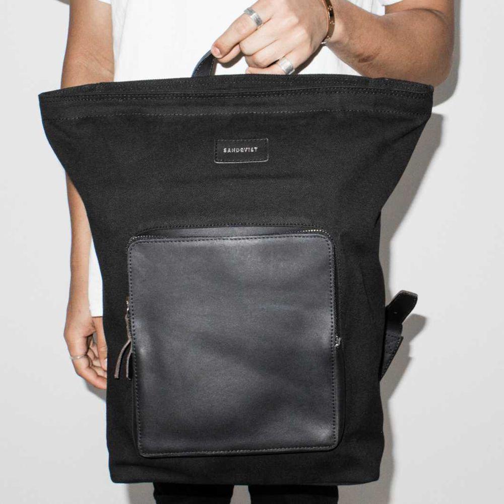 Sandqvist Misha Grand Canvas Backpack in Black for Men