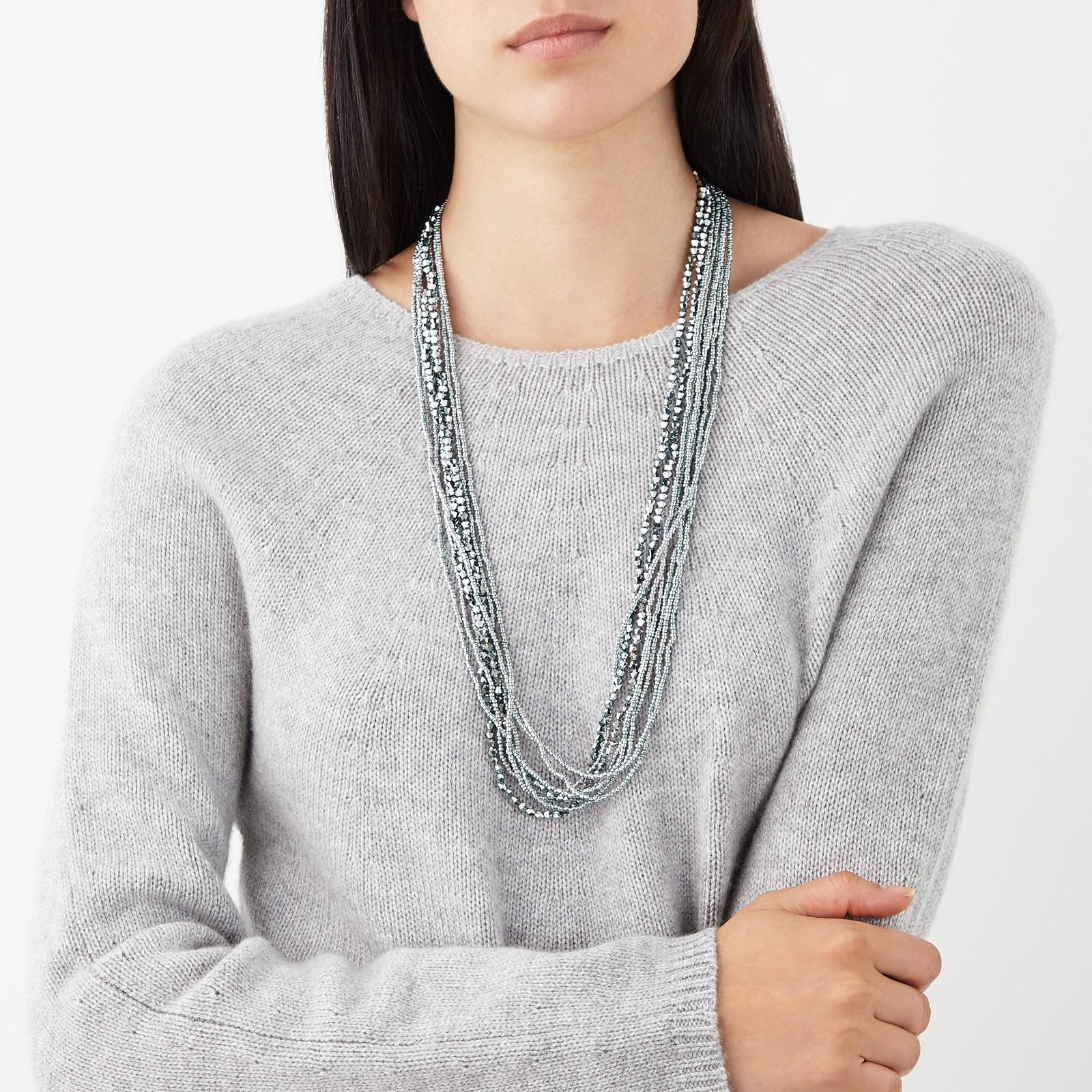 John Lewis Long Layered Sparkle Necklace in Silver (Metallic)